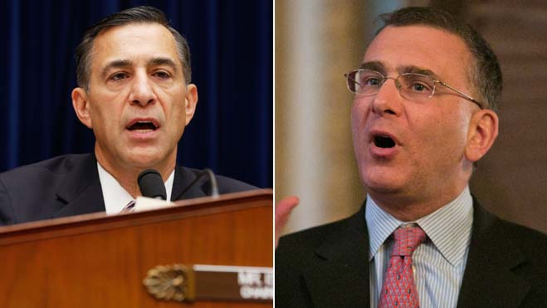 """In these file photos, Rep. Darrell Issa, R-Calif., holds a hearing on """"ObamaCare"""" implementation on Capitol Hill in Washington, Nov. 13, 2013 and economist Jonathan Gruber speaks at a conference in Boston, Massachusetts, March 12, 2014."""