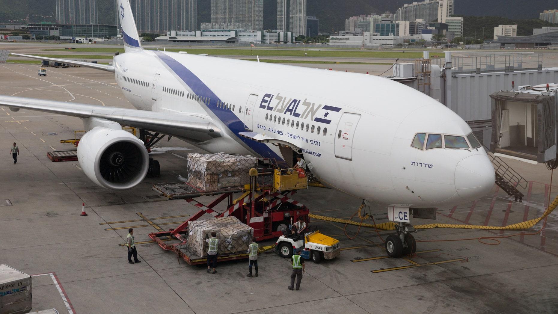 El Al Israel Airlines Boeing 777-200 parked at Hong Kong International Airport.