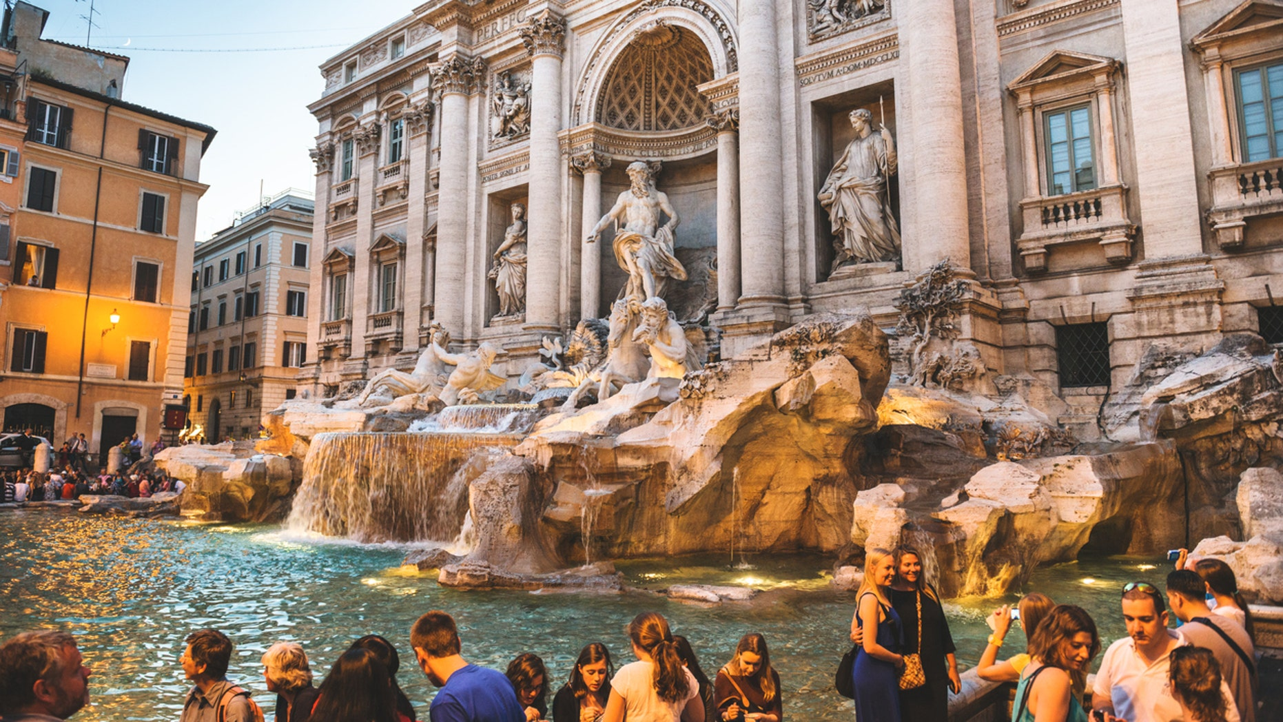 Rome's Trevi Fountain is a popular location for a quick selfie.