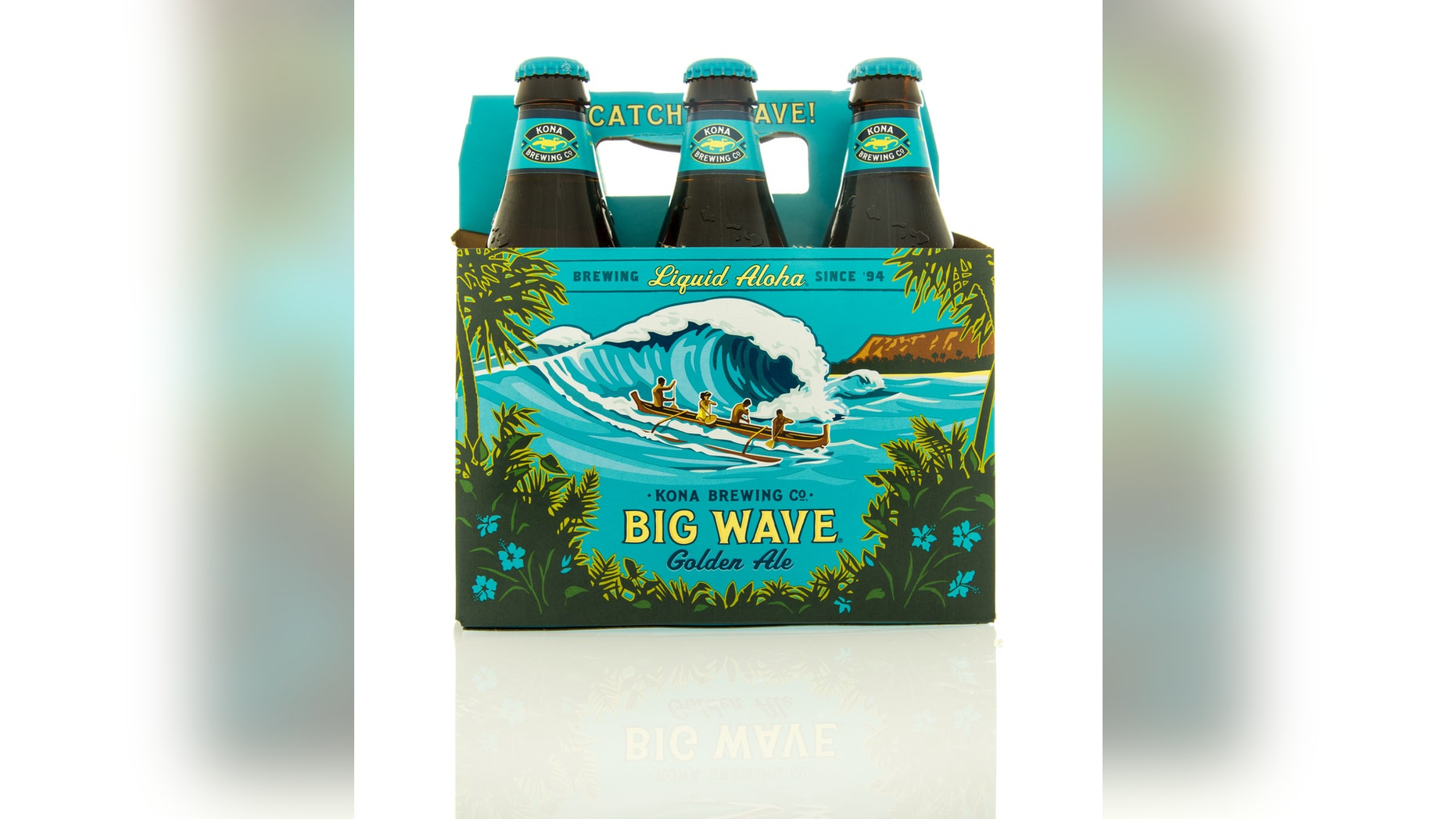 Winneconne, WI, USA - 9 March 2016: Six pack of Big Wave beer from the Kona brewing company