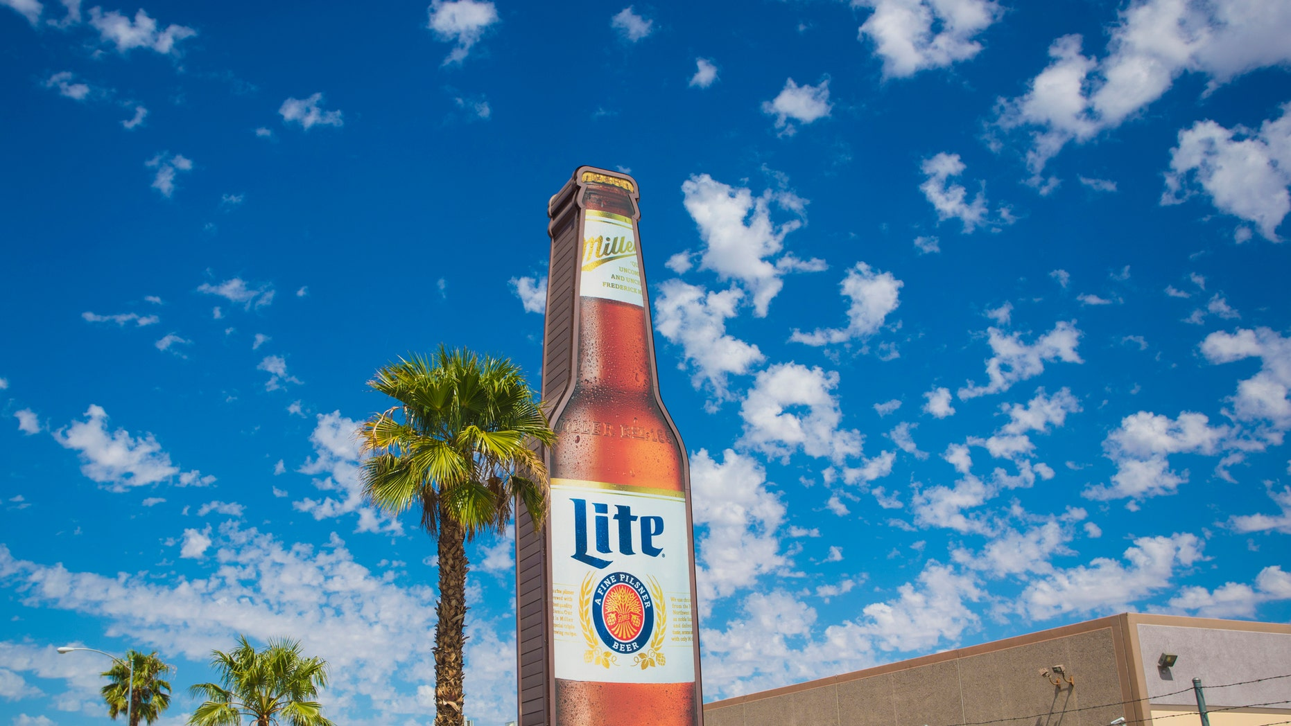 Las Vegas, USA - September 10, 2016: An editorial stock photo of a Miller Lite sign on the grounds of the Bonza Beverage Company in Las Vegas, Nevada. Bonanza Beverage has been distributing premium beverages in Las Vegas and servicing all of Southern Nevada.
