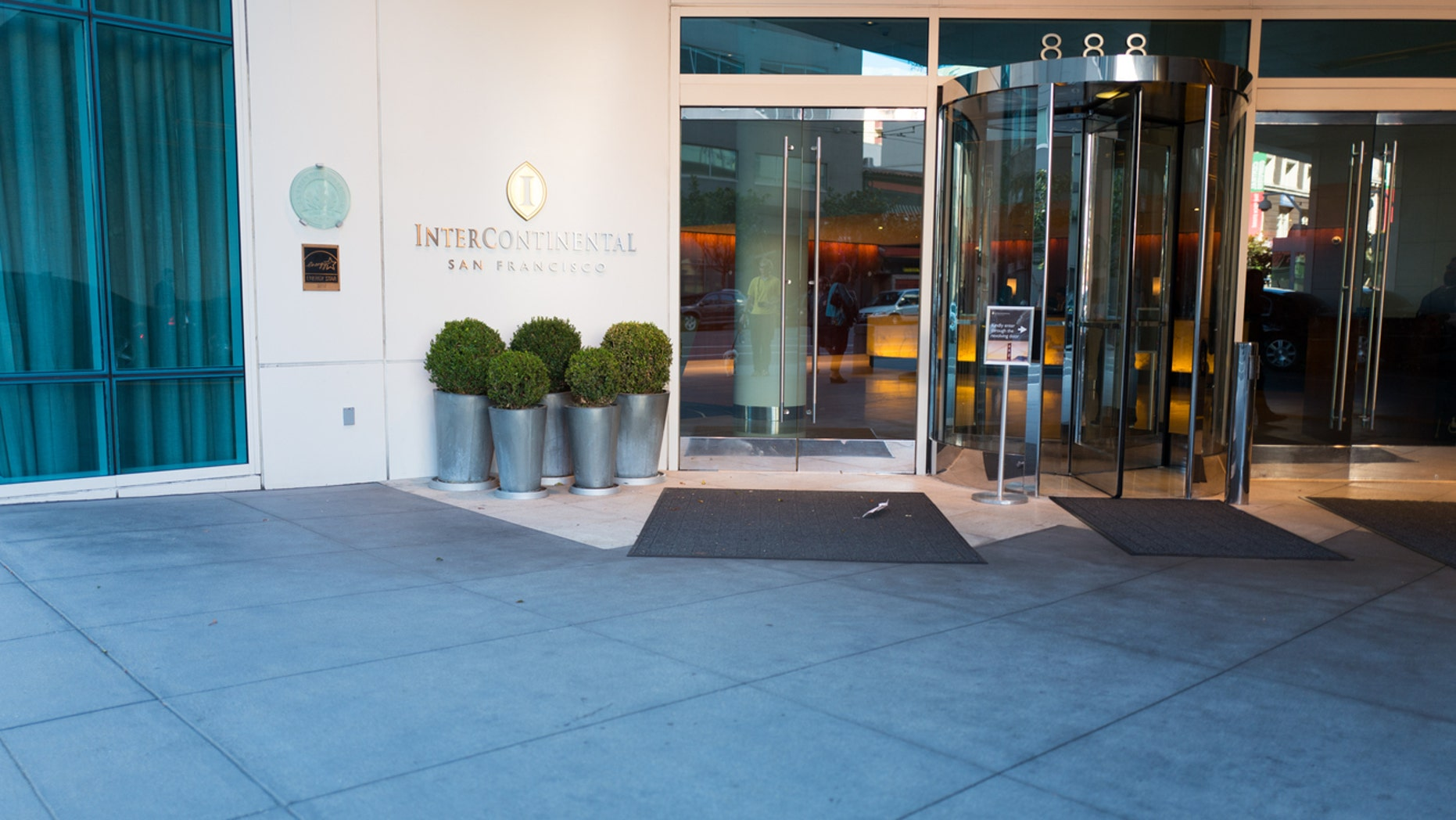 San Francisco, United States - July 1, 2016: Entryway to the Intercontinental Hotel in the South of Mission (SoMA) neighborhood of San Francisco, California