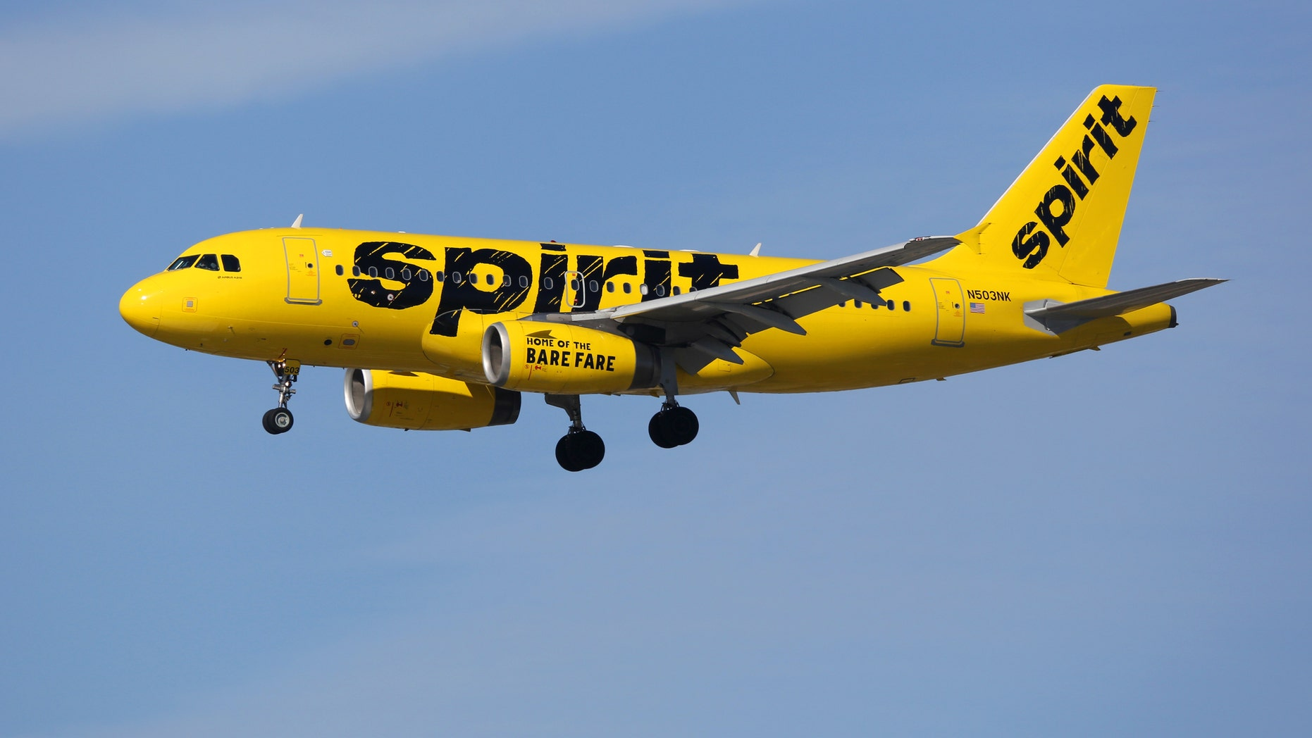 Los Angeles, United States - February 19, 2016: A Spirit Airlines Airbus A319 with the registration N503NK landing at Los Angeles International Airport (LAX) in the United States. Spirit Airlines is an American low-cost airline with its headquarters in Fort Lauderdale.