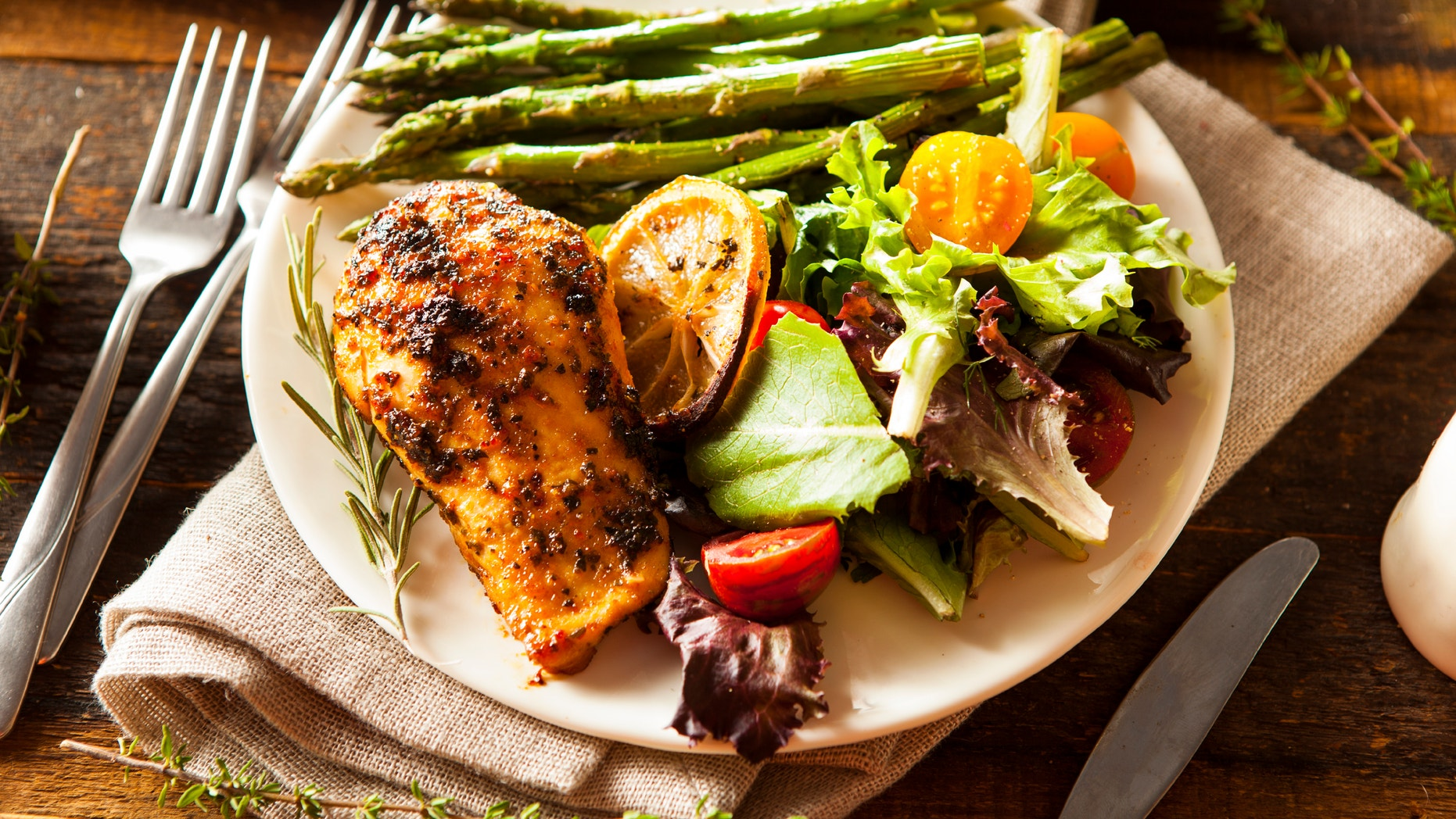 Homemade Lemon and Herb Chicken with Salad and Asparagus