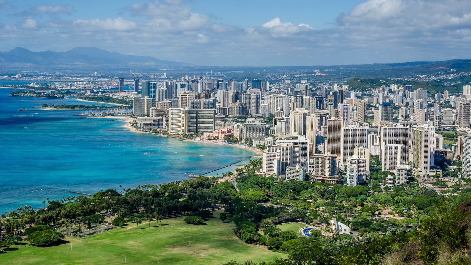 The Waikiki neighborhood in Honolulu, Hawaii