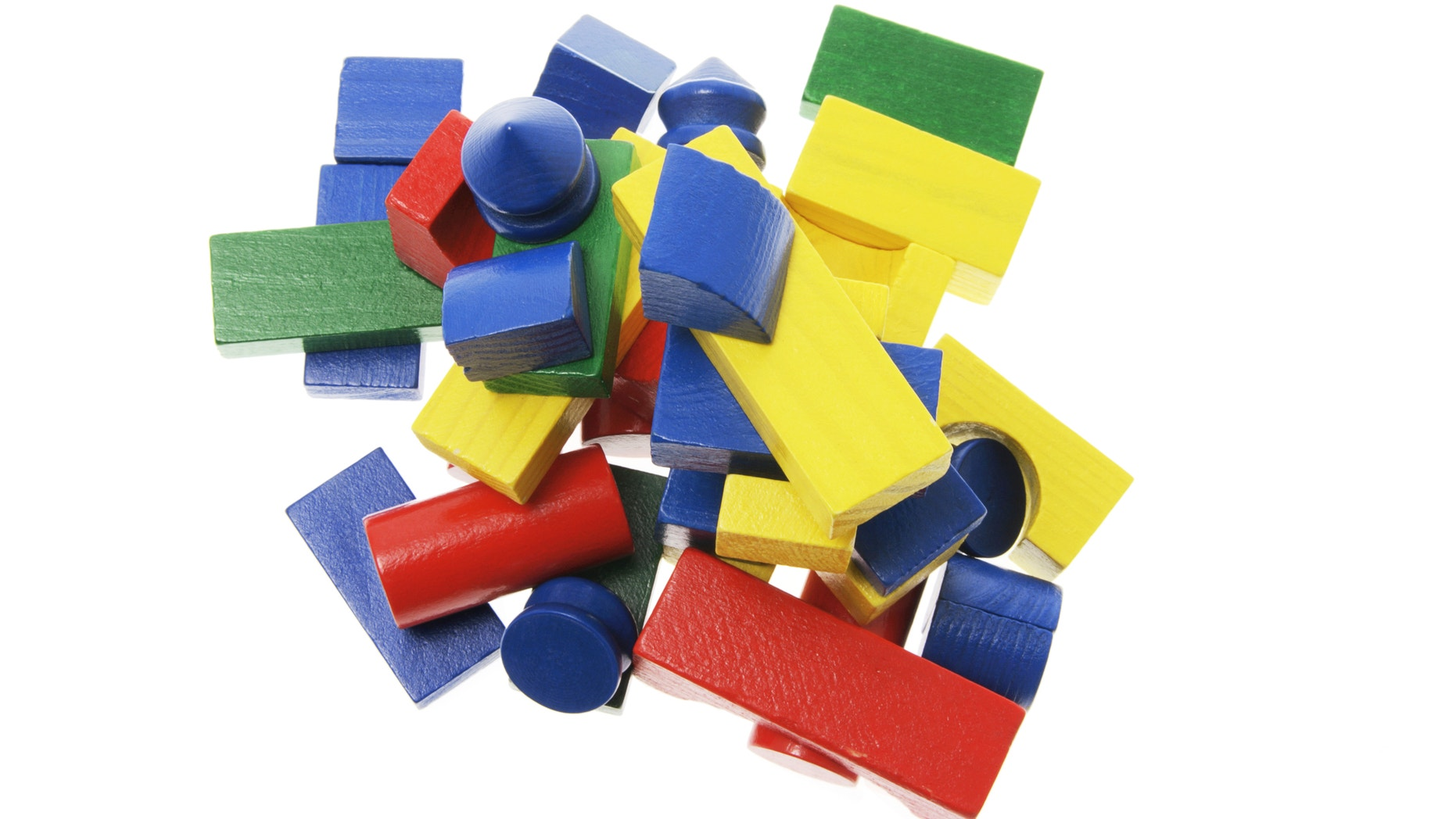 Pile of Wooden Building Blocks on White Background