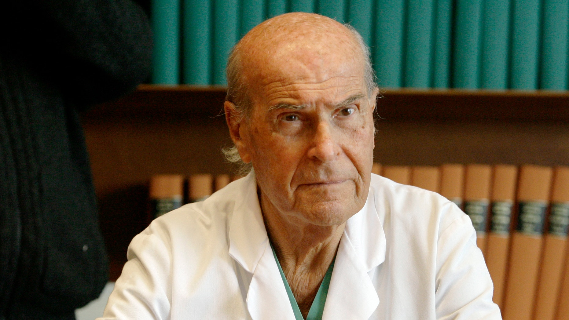 In this photo taken on Tuesday, Nov. 20, 2007, Umberto Veronesi attends a press conference at the 'Istituto Oncologico Europeo' the Italian cancer research Institute, in Milan, Italy. Veronesi, an internationally known oncologist who also served as Italian Minister of health has died in Milan, Italy, Tuesday, Nov. 8, 2016. He was 90.