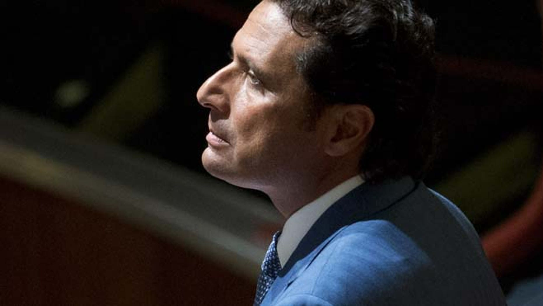 Sept. 24, 2013: In this file photo, Captain Francesco Schettino waits for the arrival of the judges in the court room of the converted Teatro Moderno theater at the end of a pause of his trial, in Grosseto, Italy. (AP)