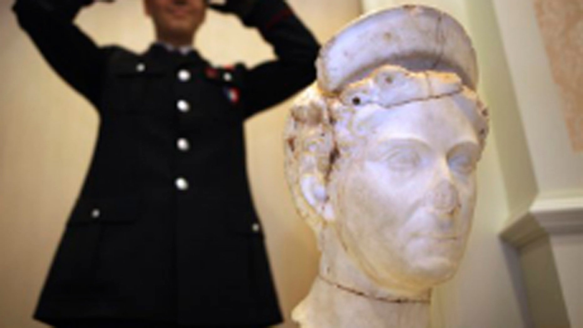 Jan. 21, 2012: An artifact returned by Italy to Libya, known as the Head Domitilla, which was stolen from Sabratha, Libya in 1990, is seen on display during Italian Prime Minister Mario Monti's visit to Tripoli, Libya.