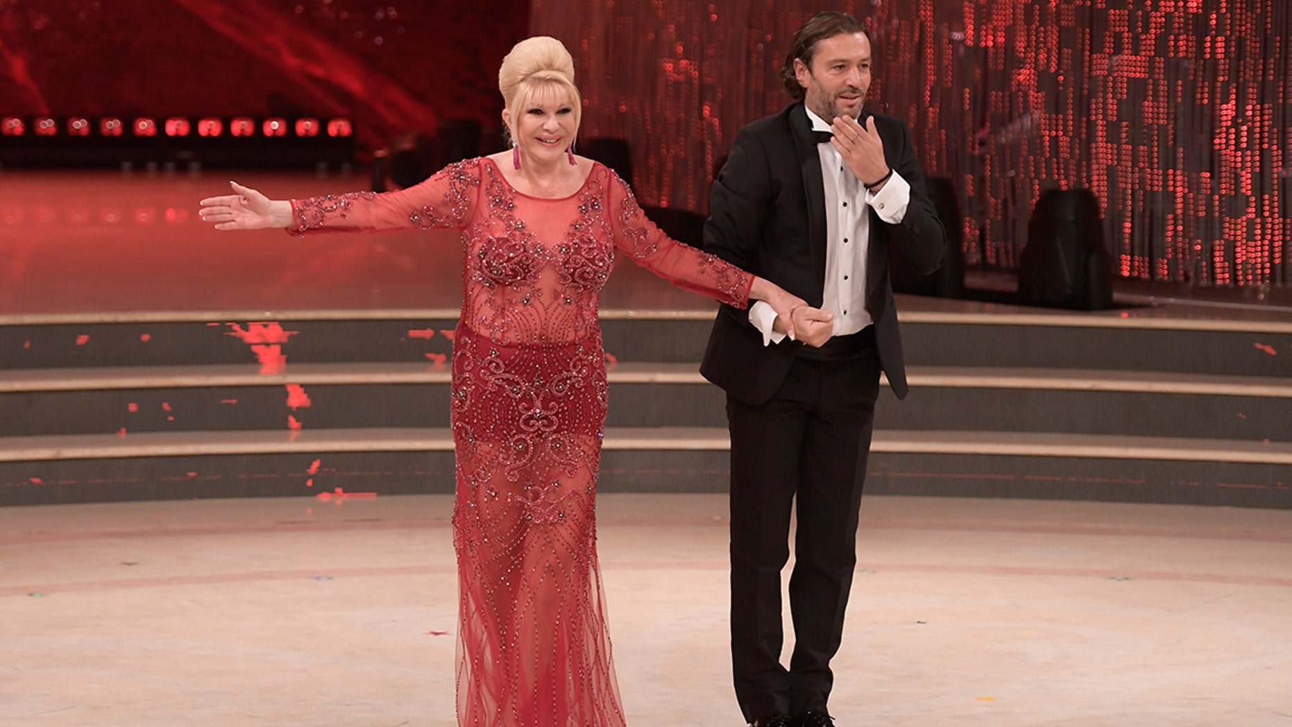 Ivana Trump dropped in on Italy's 'Dancing with the Stars' in a see through red dress.
