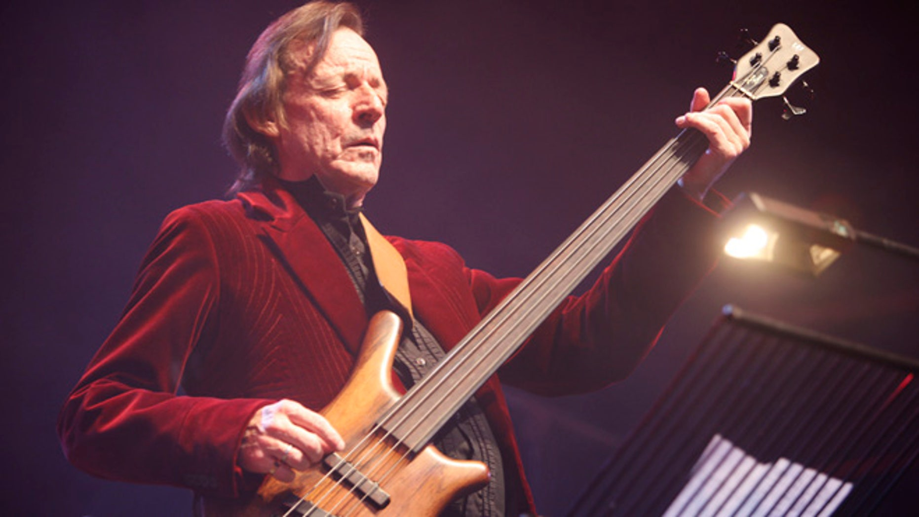 "In this Sunday, Dec. 7, 2008 file photo, British musician Jack Bruce performs at the ""Zildjian Drummers Achievement Awards"" at the Shepherd's Bush Empire in London. British musician Jack Bruce, best known as the bassist from the 1960s group Cream, has died. He was 71."