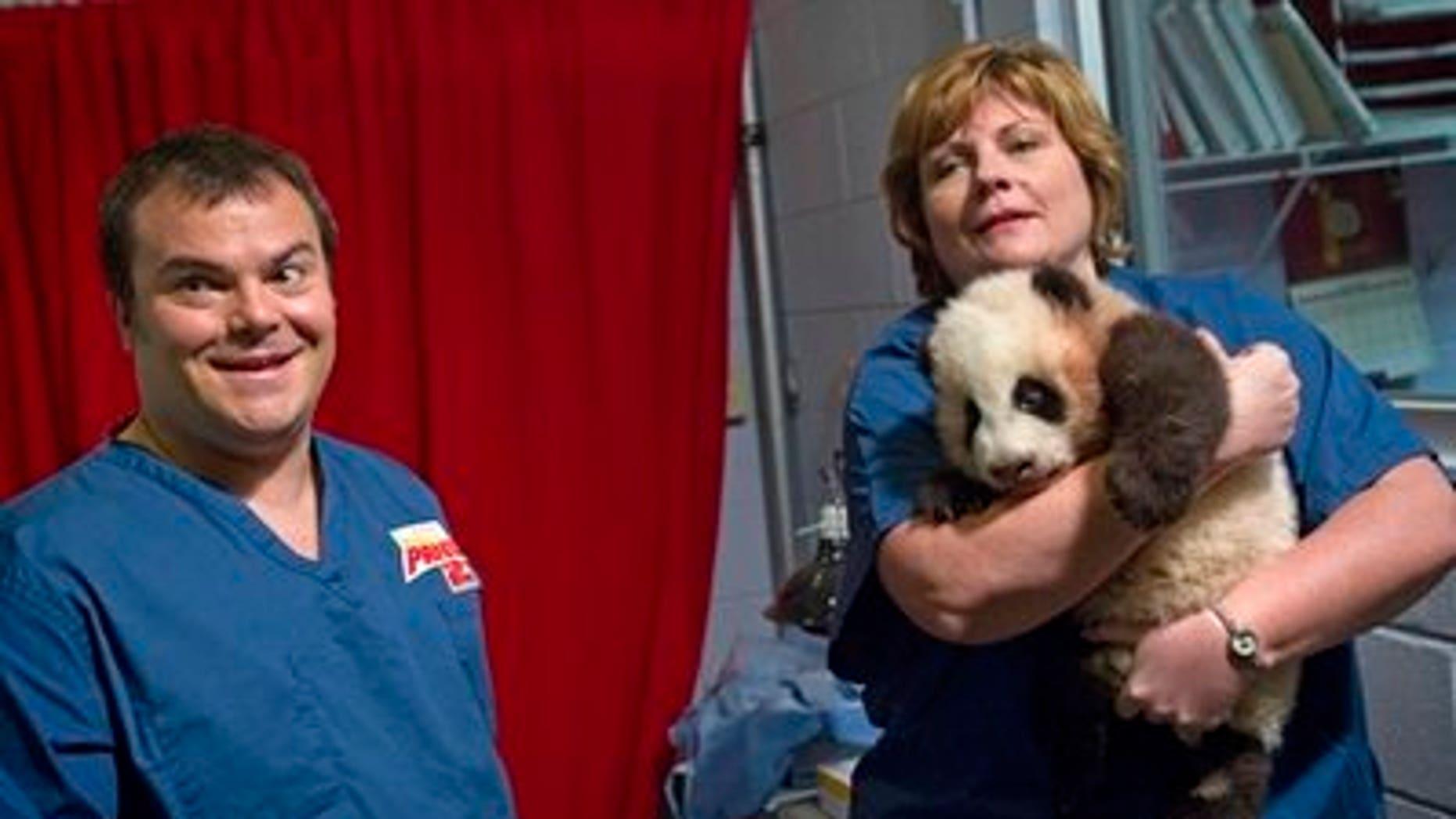 Jack Black ath the panda's naming ceremony. (AP)