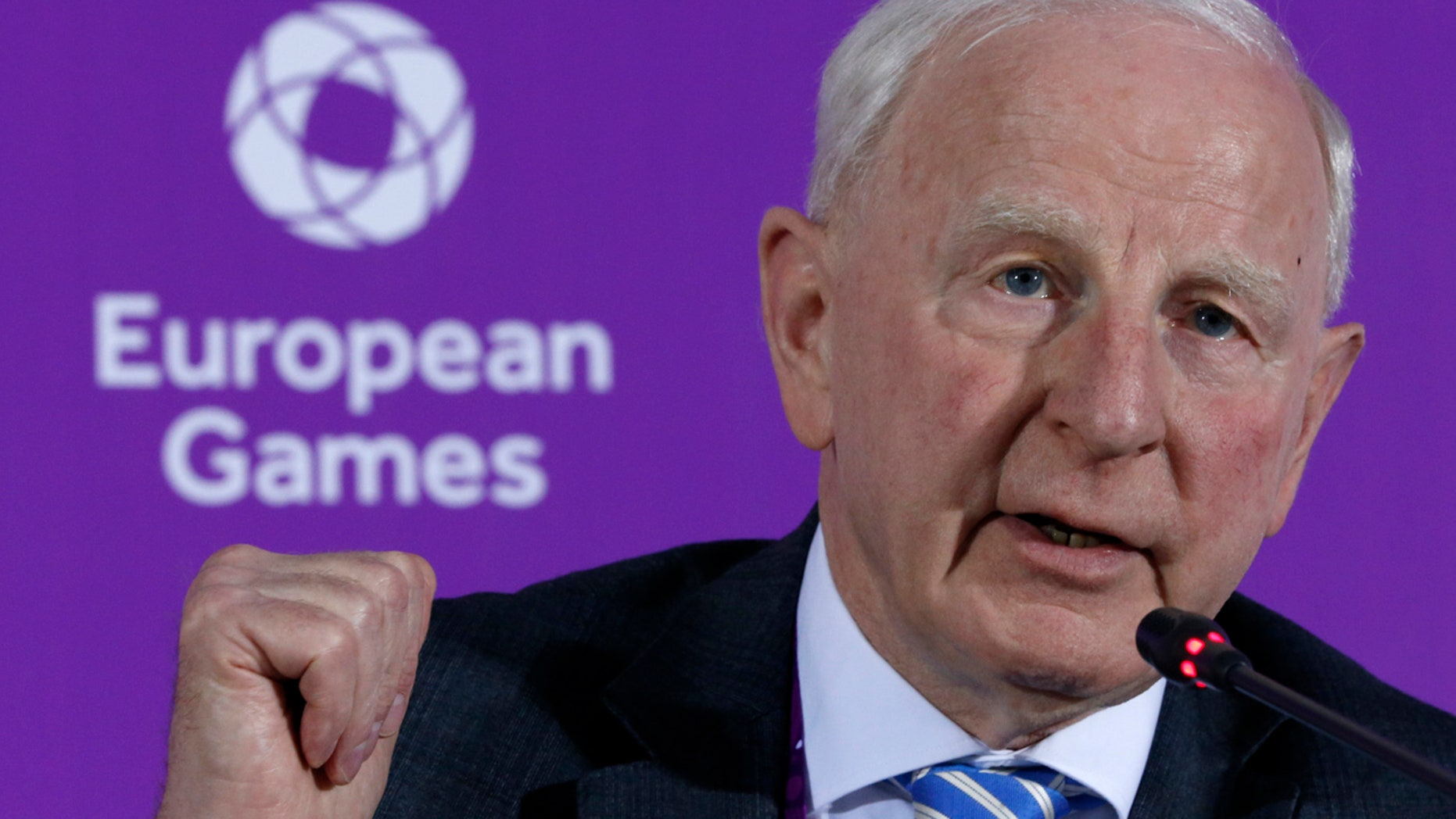 June 11, 2015: Patrick Hickey, the head of the European Olympic Committee, speaks during a news conference on the eve of the opening of the 2015 European Games in Baku, Azerbaijan.
