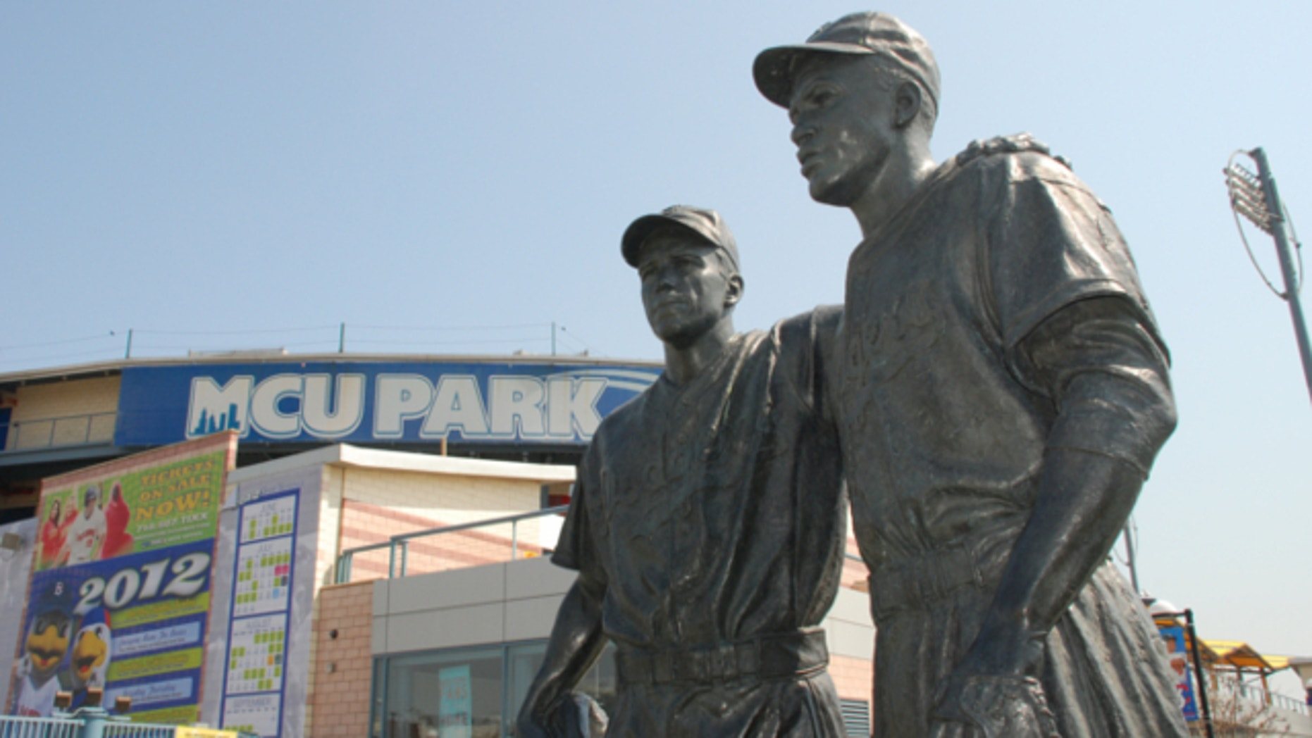 FILE: This undated image provided by the Brooklyn Cyclones shows a statue of Pee Wee Reese and Jackie Robinson at MCU Park in the Coney Island section of the Brooklyn borough of New York.