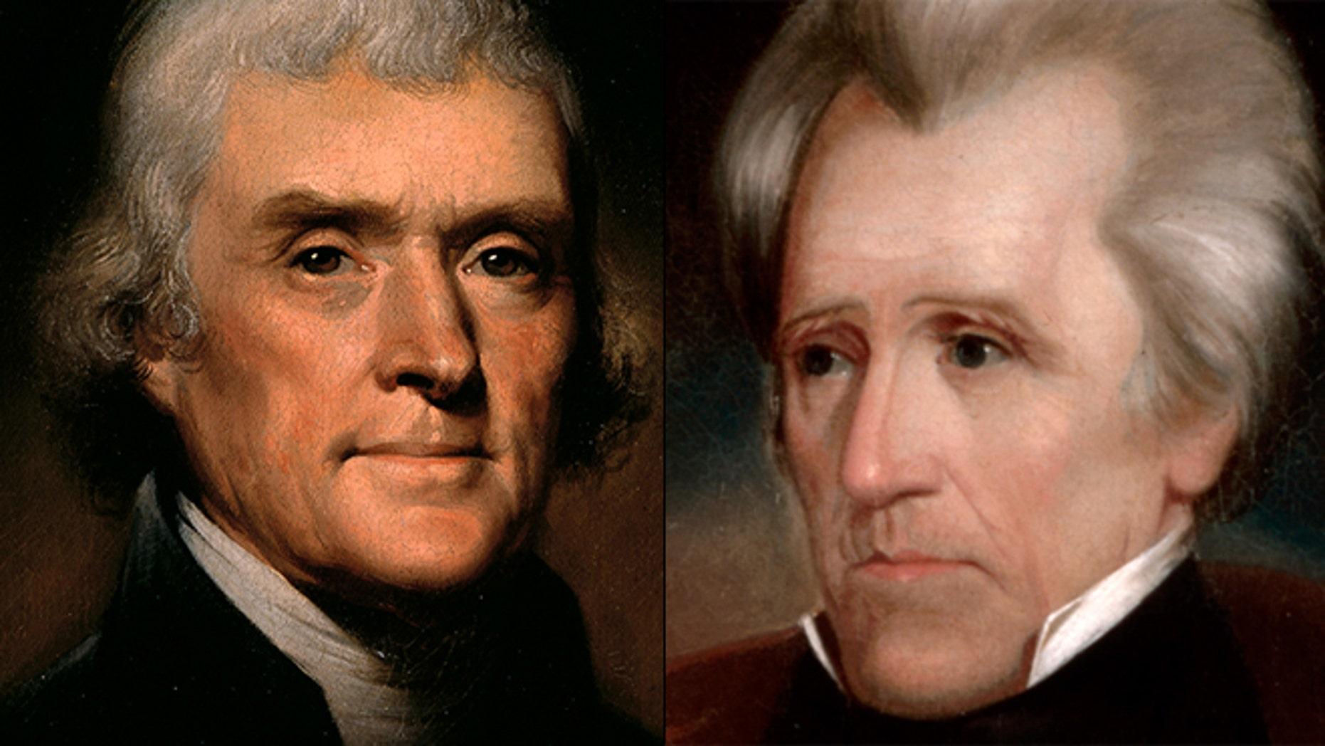 At left, portrait of President Thomas Jefferson; at right, portrait of President Andrew Jackson.