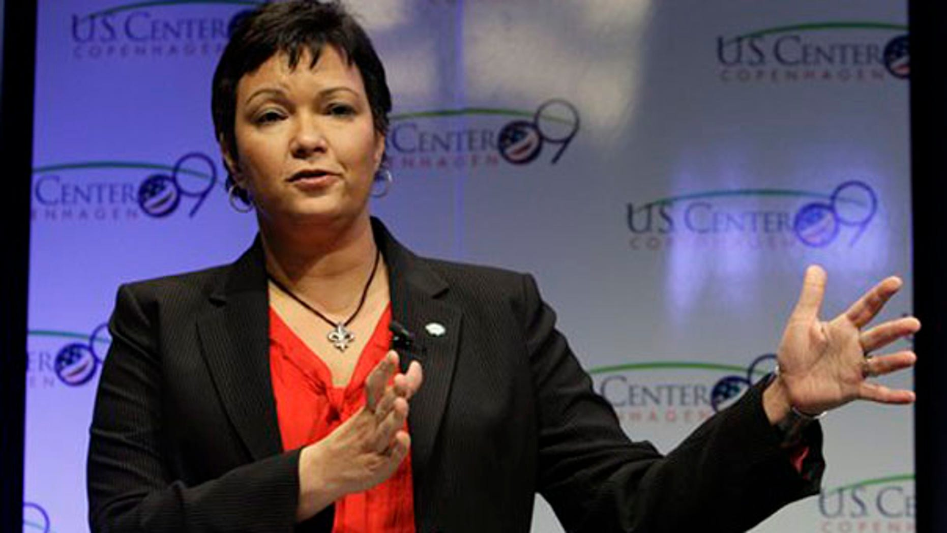 EPA Administrator Lisa Jackson gestures during a briefing in the U.S. center at the Climate Conference in Copenhagen Dec. 9. (AP Photo)