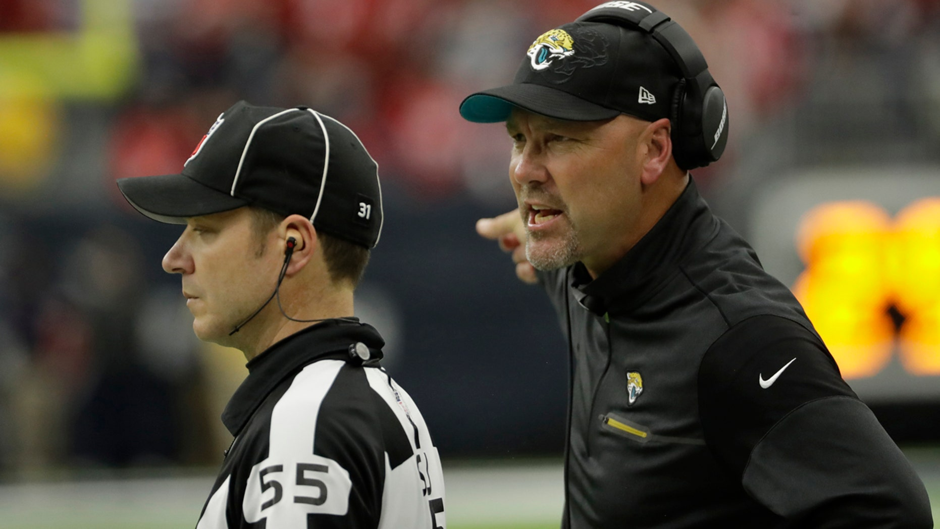 Dec. 18, 2016: Jacksonville Jaguars head coach Gus Bradley, right, reacts during the first half of an NFL football game against the Houston Texans in Houston.  The Jaguars lost and Bradley was fired after the game.