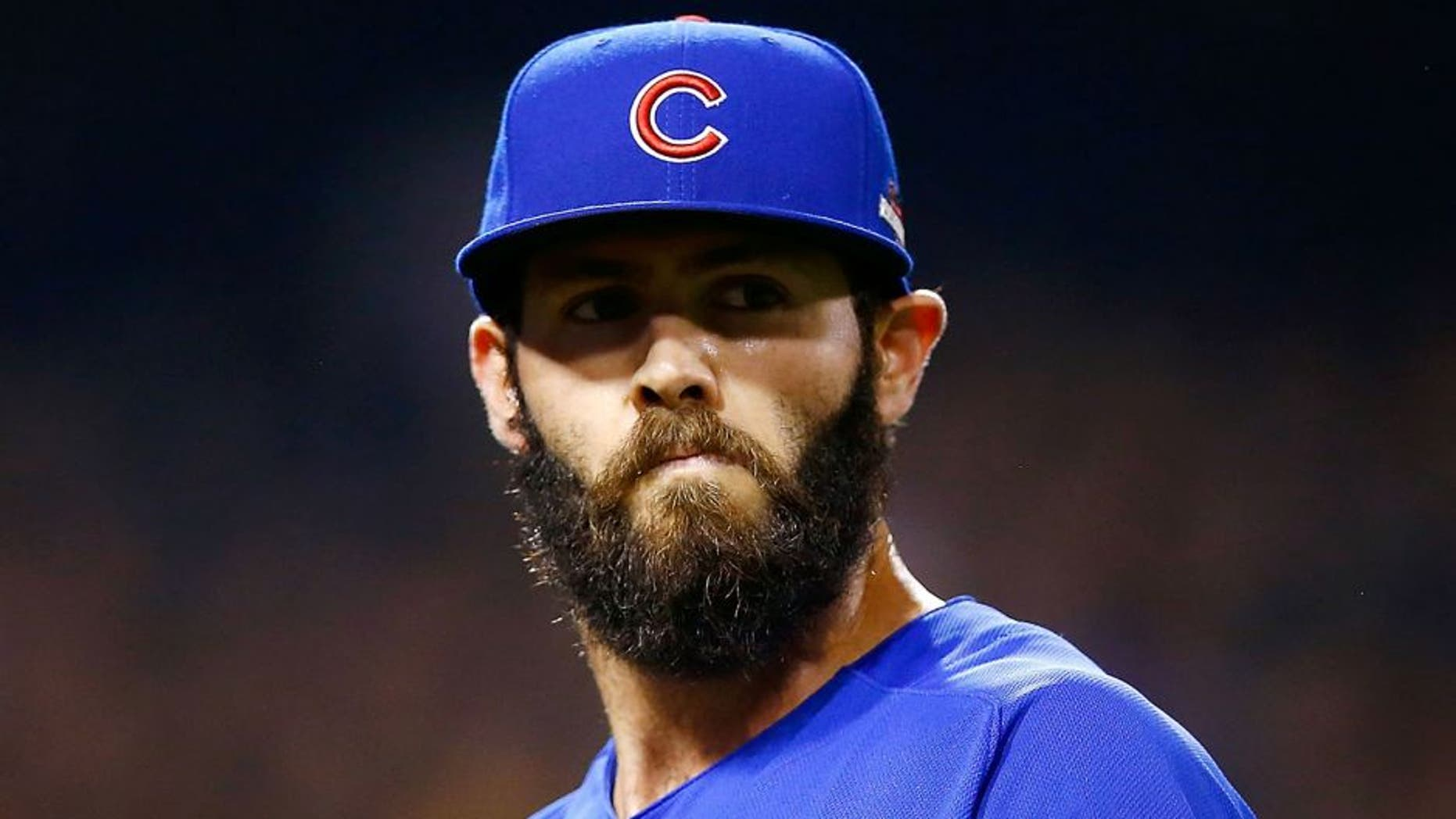 PITTSBURGH, PA - OCTOBER 07: Jake Arrieta #49 of the Chicago Cubs looks on in the third inning during the National League Wild Card game against the Pittsburgh Pirates at PNC Park on October 7, 2015 in Pittsburgh, Pennsylvania. (Photo by Jared Wickerham/Getty Images)