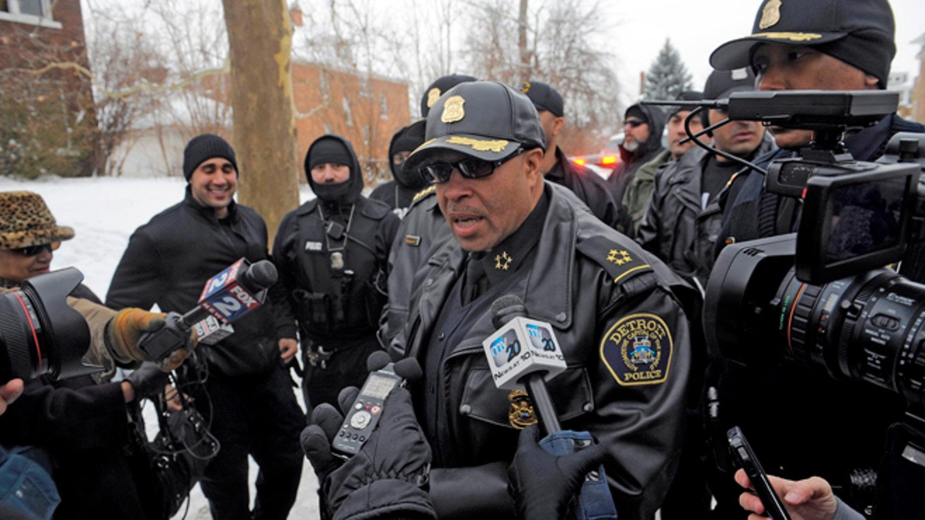 Dec. 17, 2013: Detroit Police Chief James Craig speaks with the media during Operation Mistletoe, a raid targeting drug dealers on  Detroit's west side.