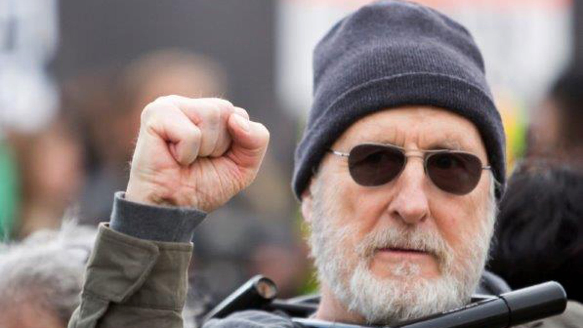 December 18, 2015. James Cromwell protests at a power plant that is under construction in Wawayanda, N.Y.