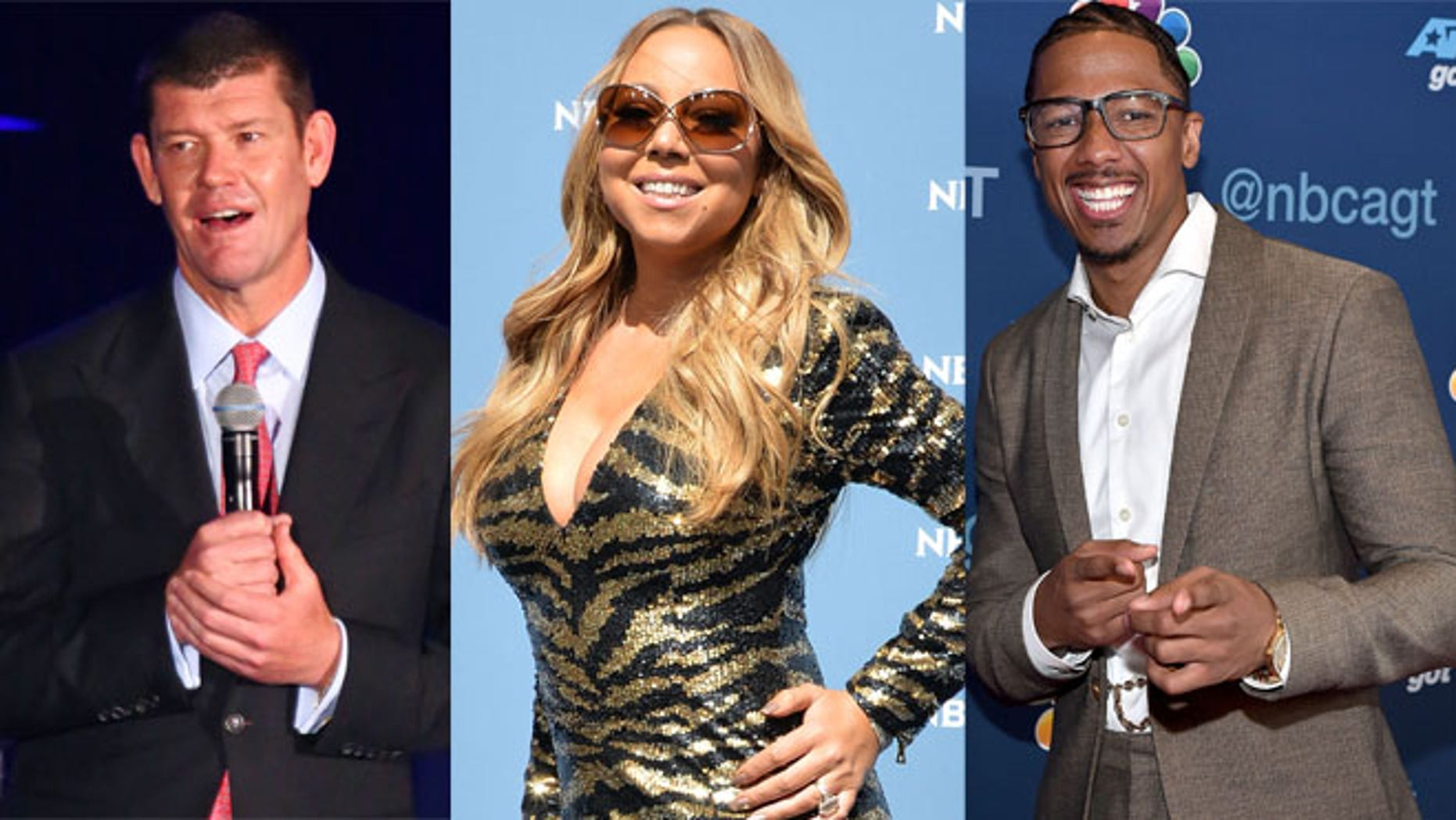 James Packer (left), Mariah Carey and Nick Cannon. (Photos: Getty Images)