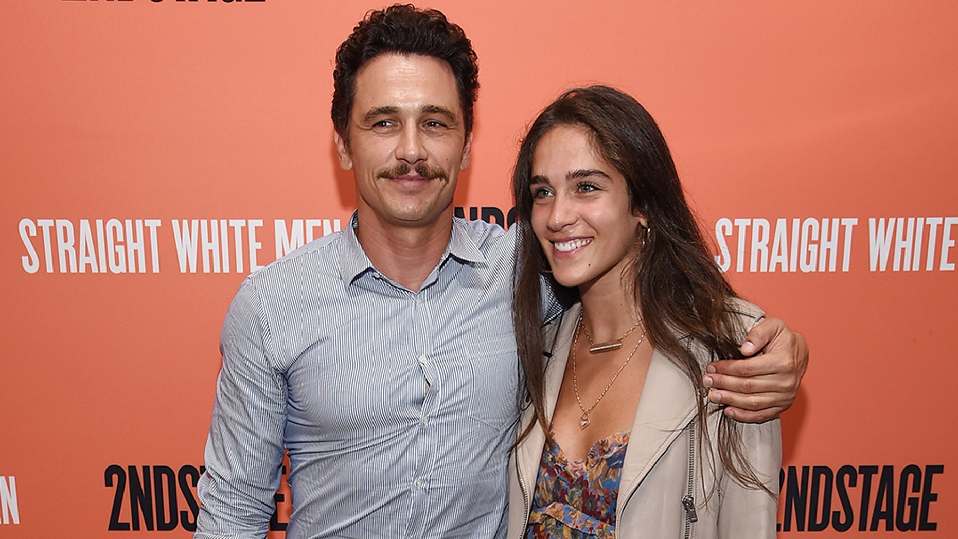 "James Franco and girlfriend Isabel Pakzad attend the opening night of ""Straight White Men"" in NYC on July 23, months after the actor's harassment controversy."