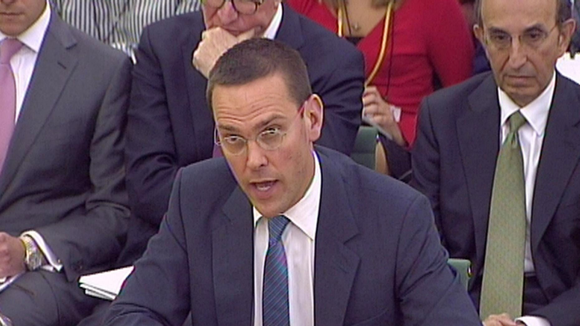 James Murdoch, gives evidence to the Culture, Media and Sport Select Committee on the News of the World phone-hacking scandal in this image taken from TV in Portcullis House in central London Tuesday July 19 2011.
