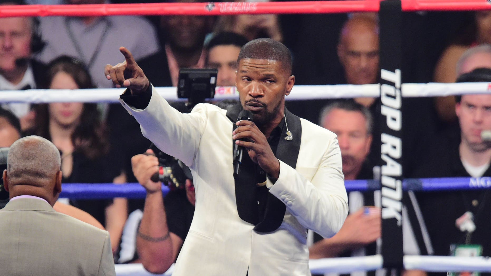 May 2, 2015. Movie actor Jamie Foxx sings the national anthem before the world welterweight championship bout between Floyd Mayweather and Manny Pacquiao at MGM Grand Garden Arena in Las Vegas.