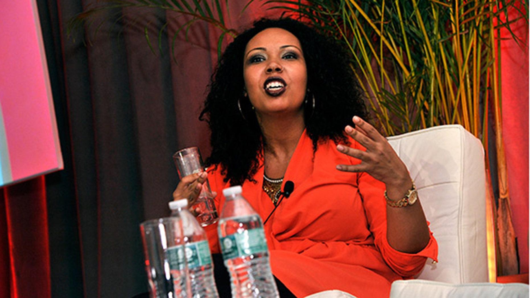 Jamilah Lemieux speaking at a panel during EMILY's List 30th Anniversary Gala at Washington Hilton on March 3, 2015 in Washington, DC.