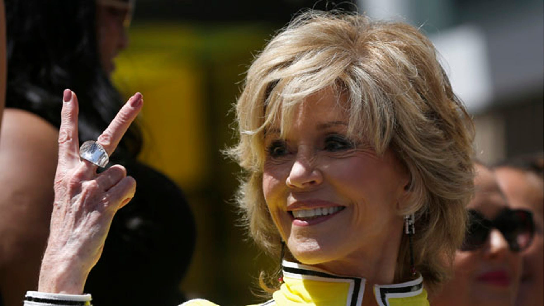June 20, 2013: Actress Jane Fonda gestures at the ceremony where singer and actress Jennifer Lopez was honored with a star on the Walk of Fame in Hollywood, Calif.