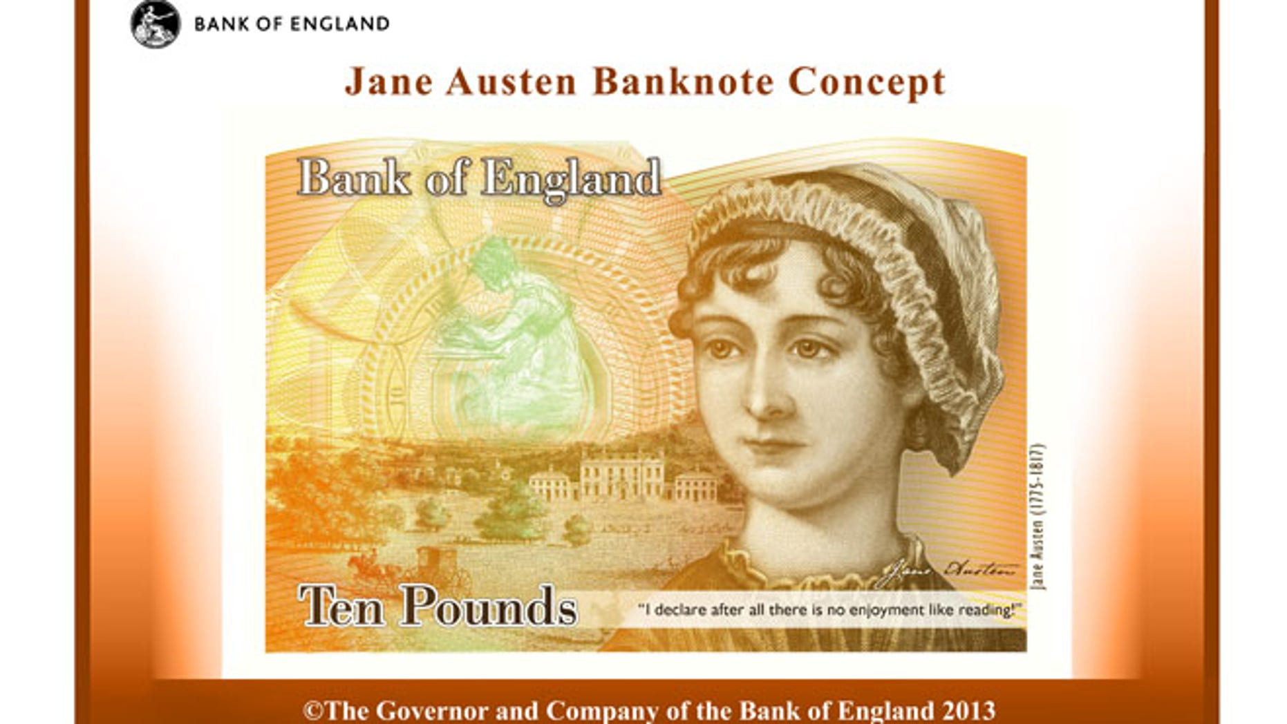 This computer generated image provided by the Bank of England Wednesday July 24, 2013, shows the concept design for the reverse of the new 10-pound note with a picture of Jane Austen.