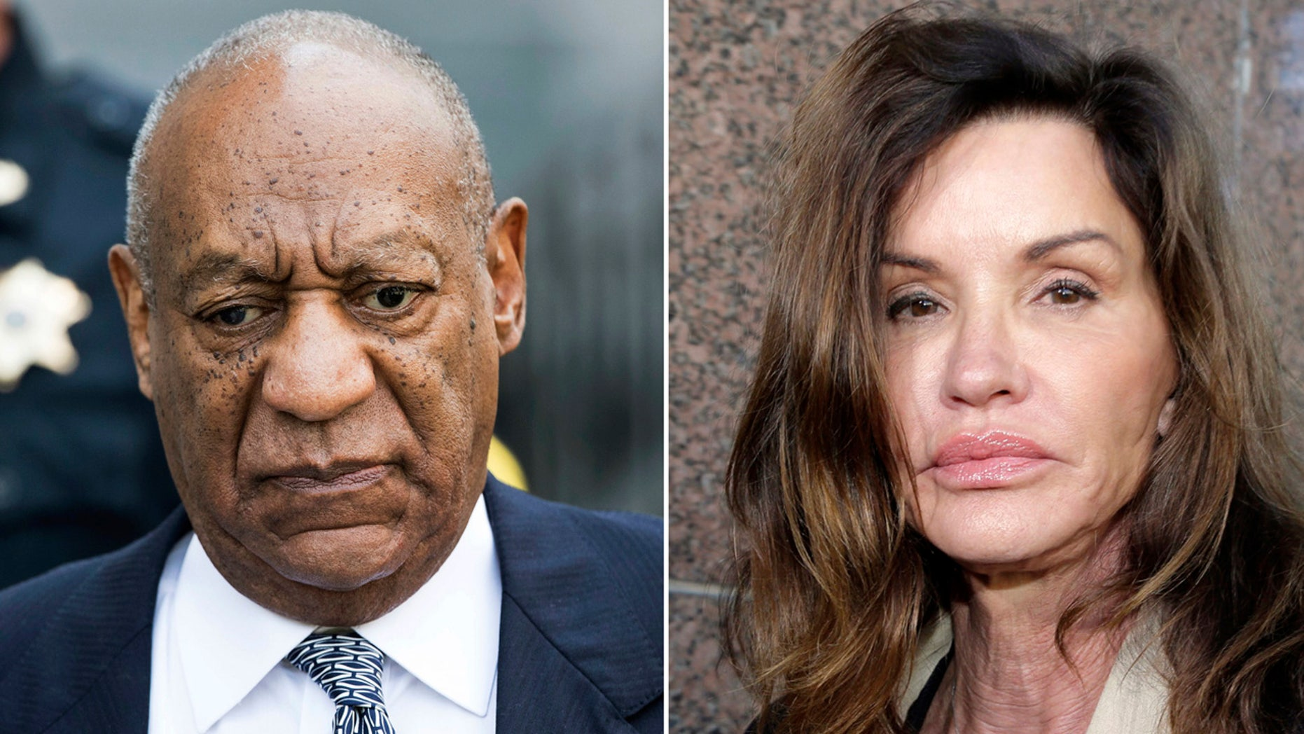 This combination photo shows Bill Cosby leaving Montgomery County Courthouse after a hearing in his sexual assault case in Norristown, Pa., on Aug. 22, 2017, left, and model Janice Dickinson leaving Los Angeles Superior Court after a judge ruled her defamation lawsuit against Bill Cosby on March 29, 2016. Dickinson's defamation lawsuit against Bill Cosby can move forward after the California Supreme Court refused an appeal from Cosby. The court said on its website Thursday that it was declining to review Cosby's appeal, which had put the case on hold. Dickinson said in 2014 that Cosby drugged and raped her in Lake Tahoe in 1982, then sued him after he and his representatives said her claims were false. (AP Photo)