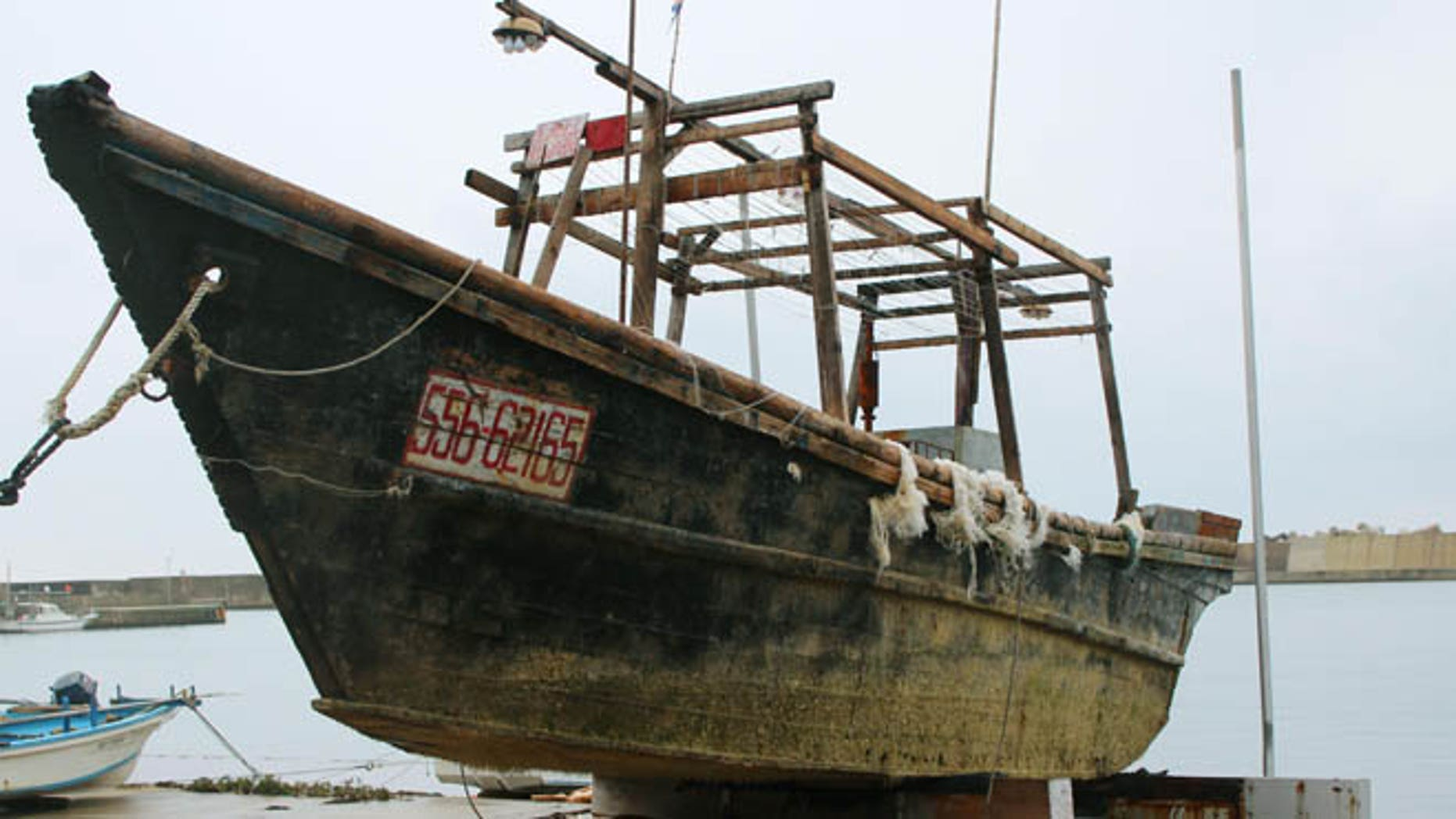 Nov. 29, 2015: A ship of unknown nationality in Wajima, Ishikawa prefecture, central Japan, after it was found in mid-November off Noto peninsula and was towed to the shore.