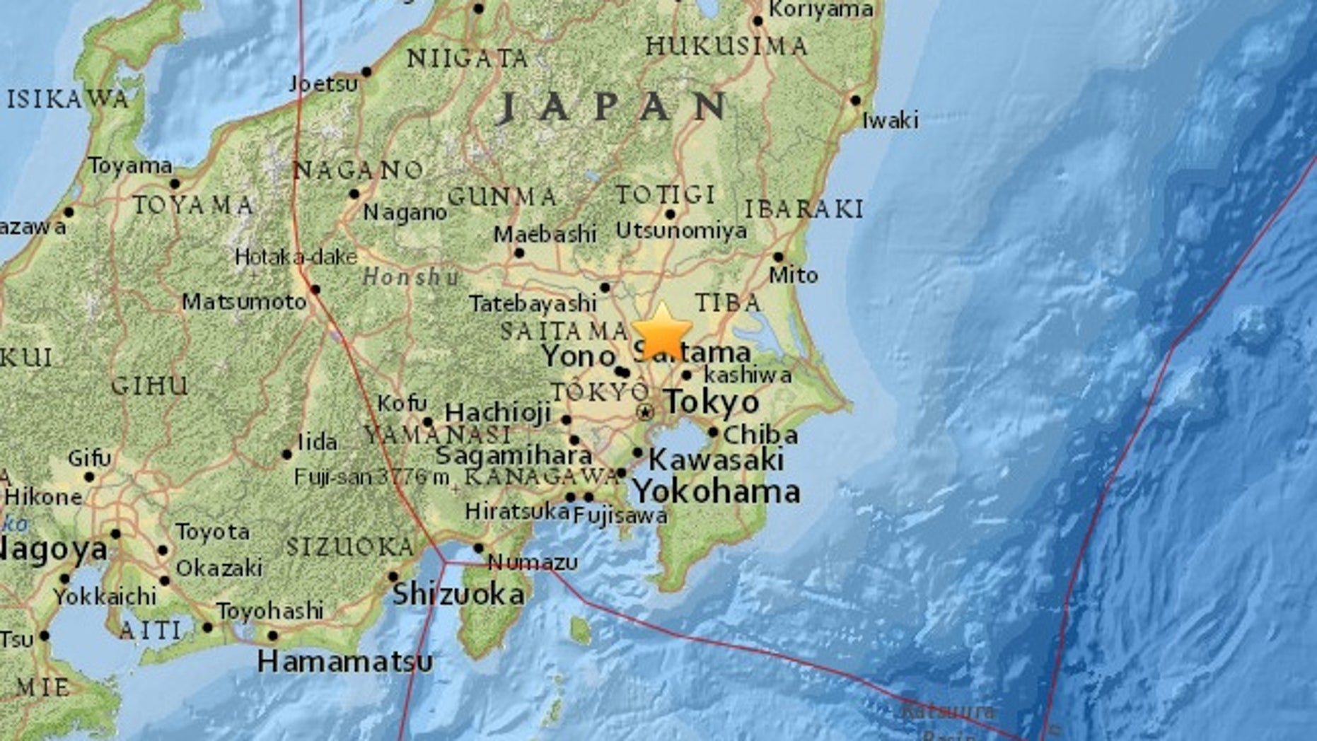 The quake was centered nearly 60 miles northeast of Tokyo.