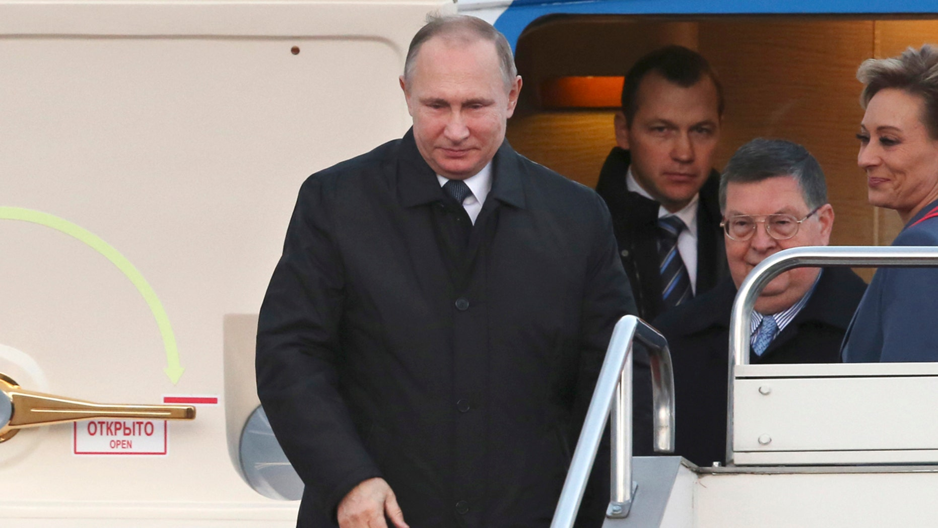 Russian President Vladimir Putin arrives at Yamaguchiube Airport in Ube, western Japan.