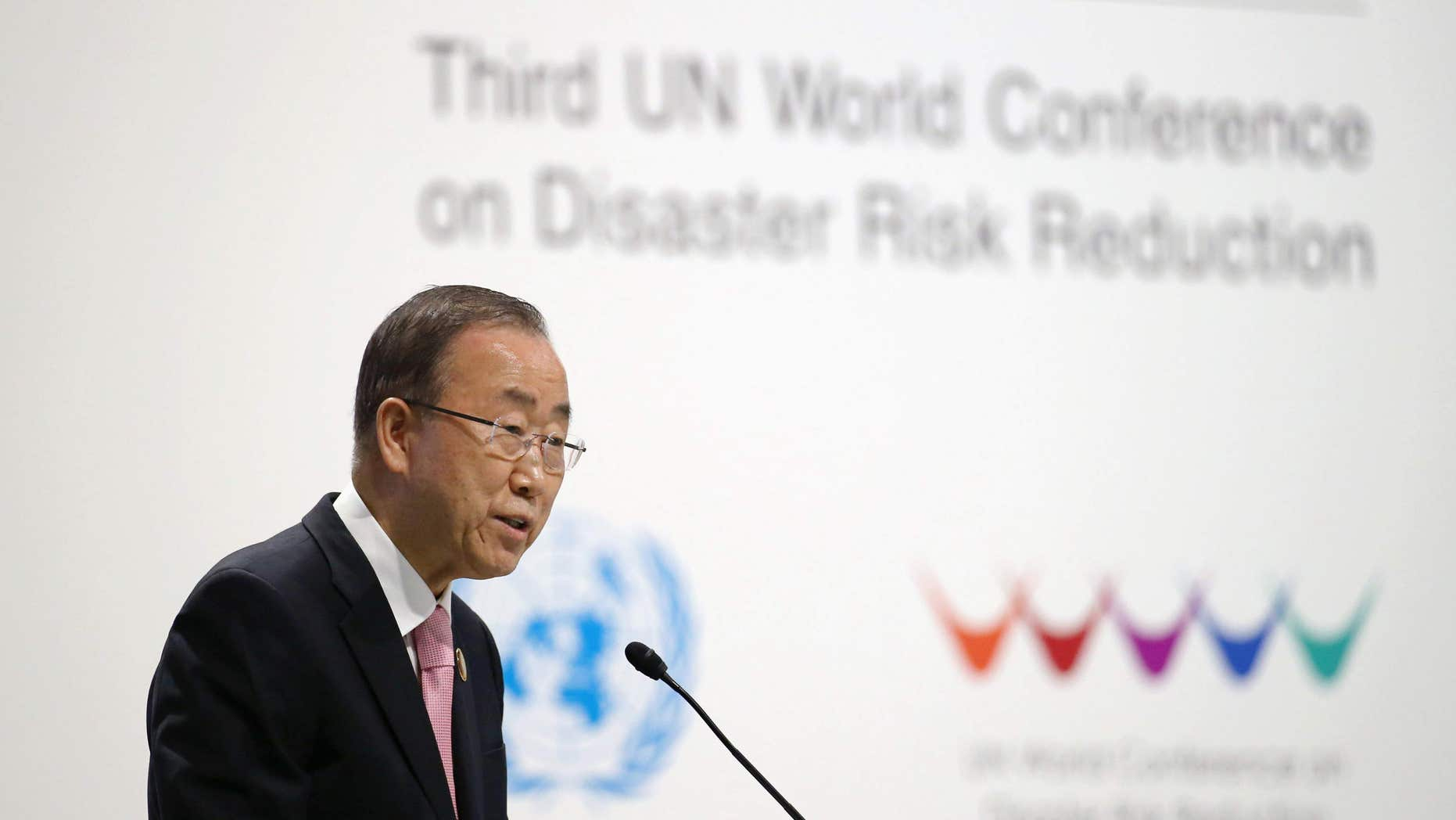 March 14, 2015: United Nations Secretary General Ban Ki-moon addresses the participants at the start of the U.N. World Conference on Disaster Risk Reduction in Sendai, northeastern Japan.