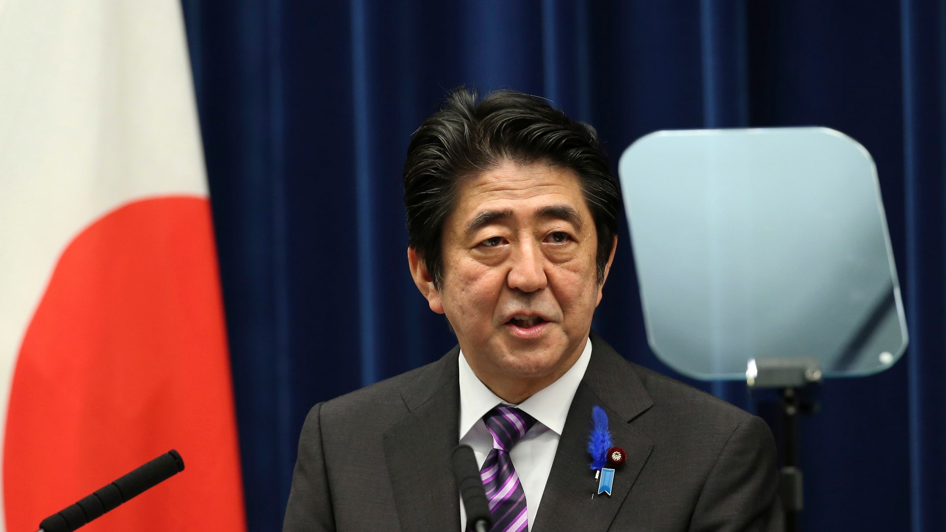July 2, 2014: Japanese Prime Minister Shinzo Abe speaks during a press conference at his official residence in Tokyo.