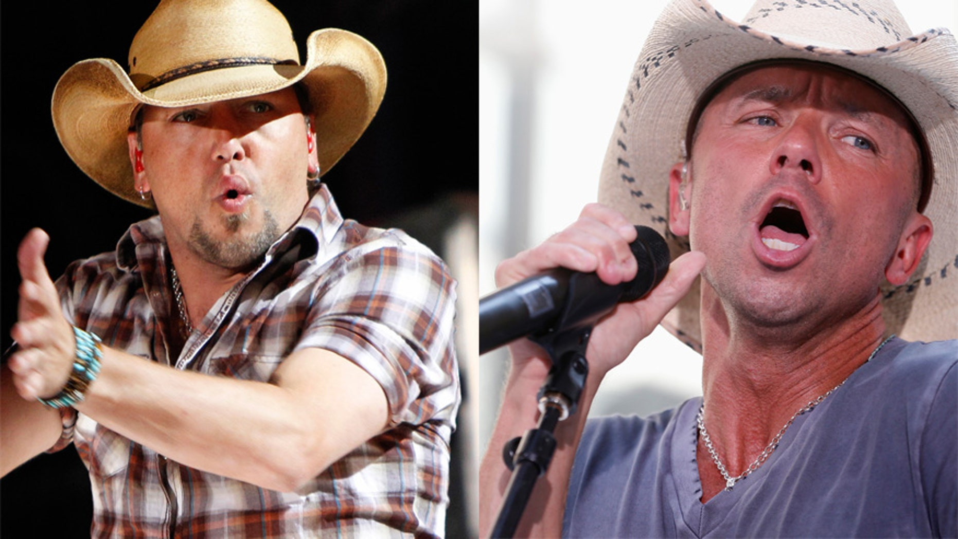 Country singers Jason Aldean (L) and Kenny Chesney (R).