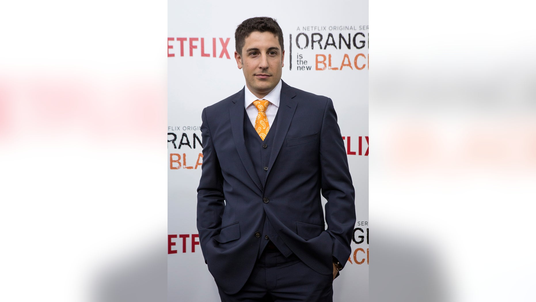 """May 15, 2014. Cast member Jason Biggs attends the season two premiere of """"Orange is the New Black"""" in New York."""