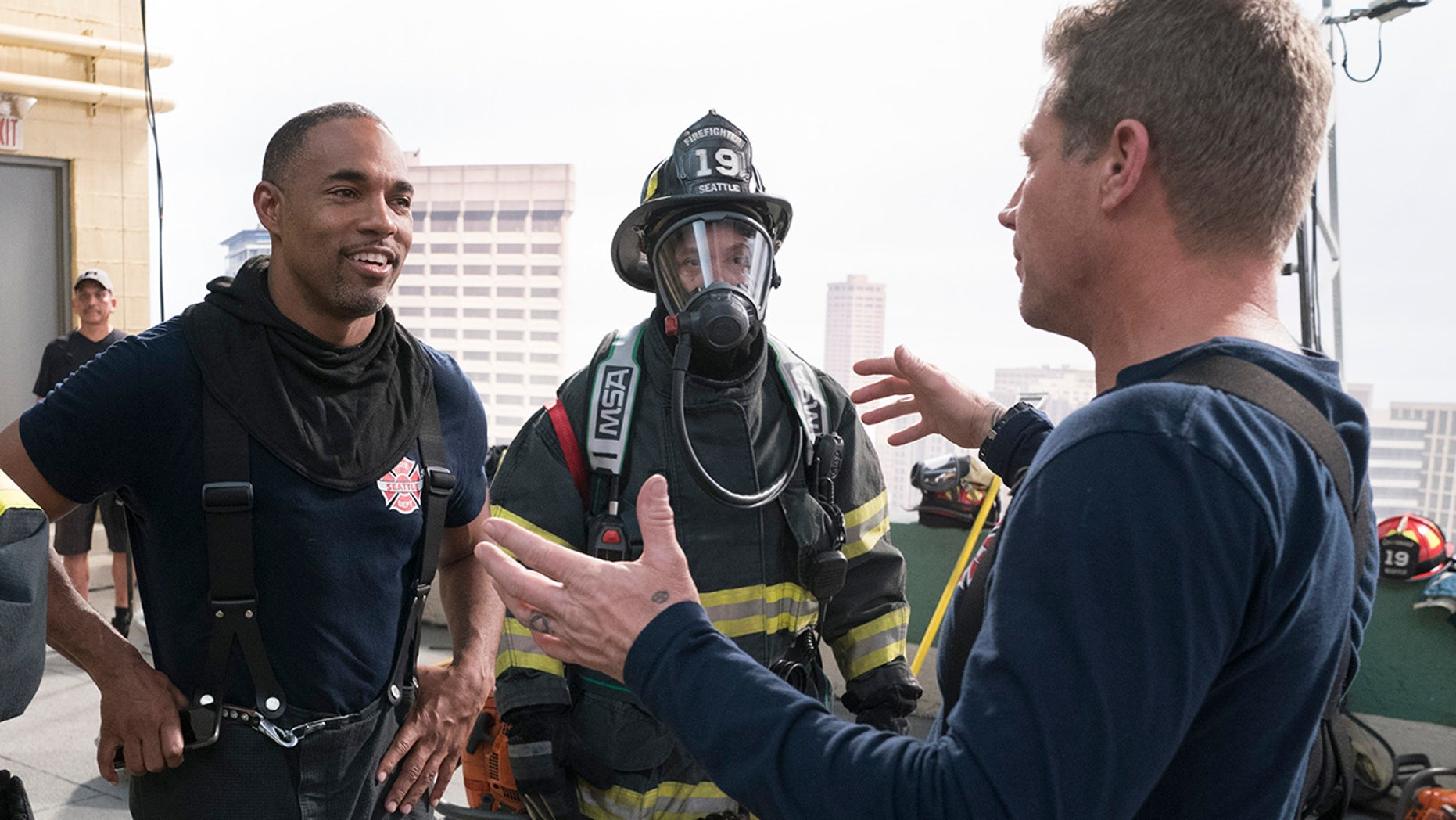 "Jason George, left, stars in the latest ""Grey's Anatomy"" spinoff ""Station 19."""
