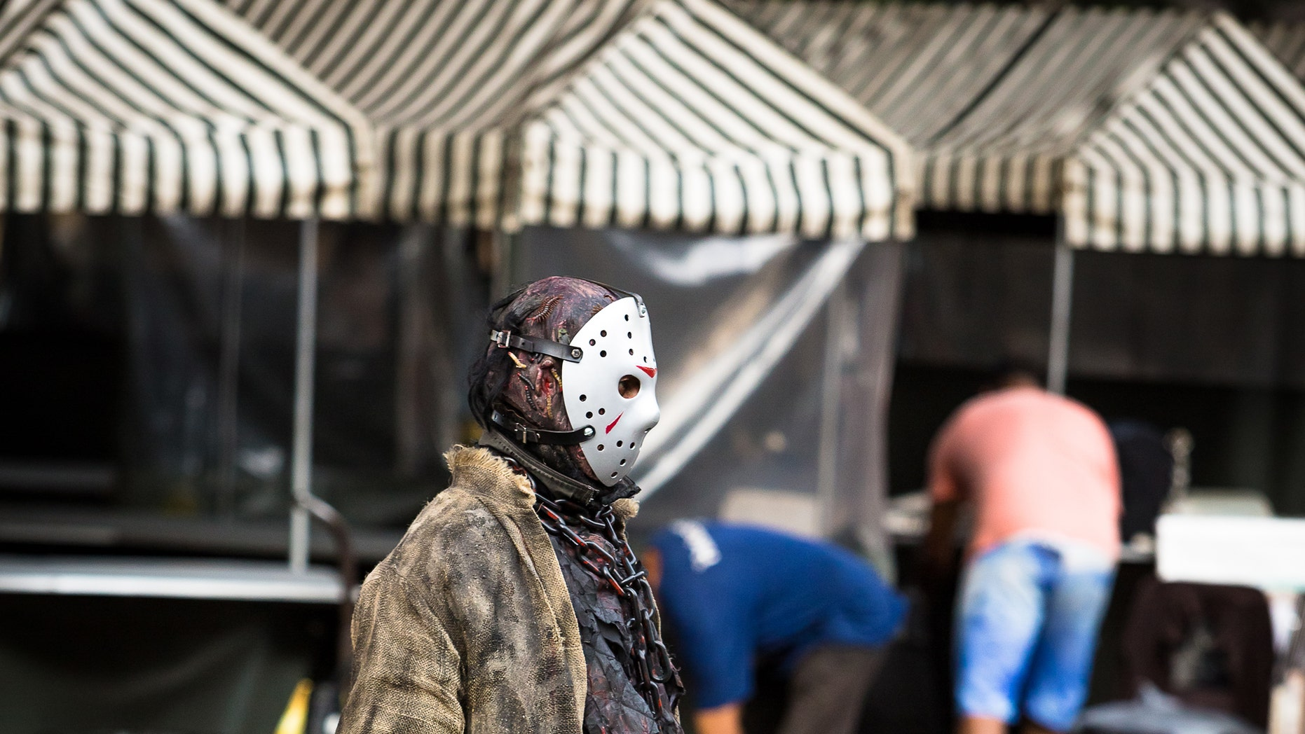 Sao Paulo, Brazil. April 16, 2017. Street artist dressed Jason Voorhees, Fryday the 13th,   Paulista Avenue, Sao Paulo.