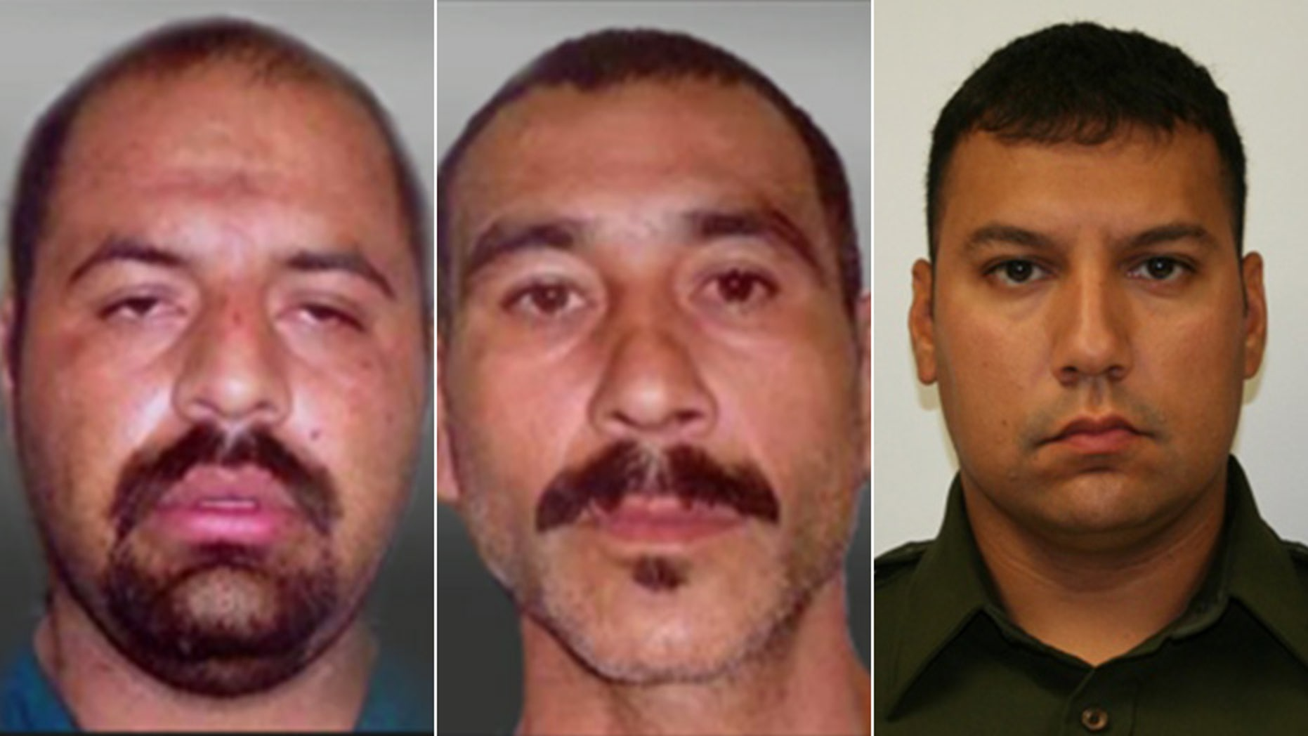 Gustavo Tijerina-Sandoval, left, has been found guilty in the 2014 murder of Border Patrol Agent Javier Vega Jr. His accomplice, Ismael Hernandez-Vallejo, center, has yet to go to trial on the same charges.
