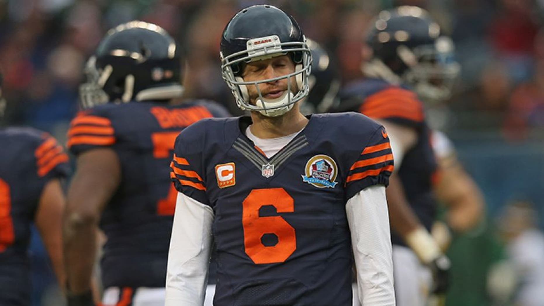 CHICAGO, IL - DECEMBER 16: Jay Cutler #6 of the Chicago Bears reacts after an incomplete pass during a game against the Green Bay Packers at Soldier Field on December 16, 2012 in Chicago, Illinois. The Packers defeated the Bears 21-13. (Photo by Jonathan Daniel/Getty Images)