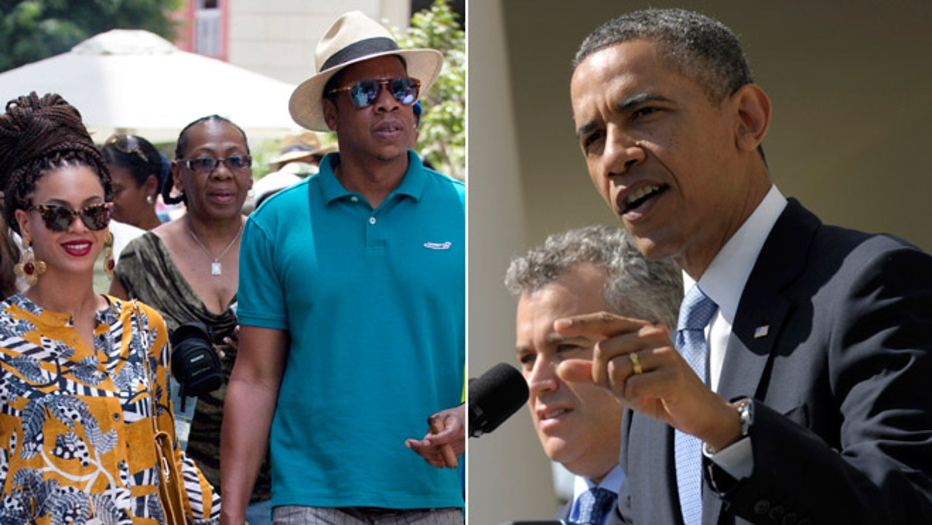 Married musicians Beyonce, left, and rapper Jay-Z, during an April 4, 2013 trip to Cuba, and President Obama.