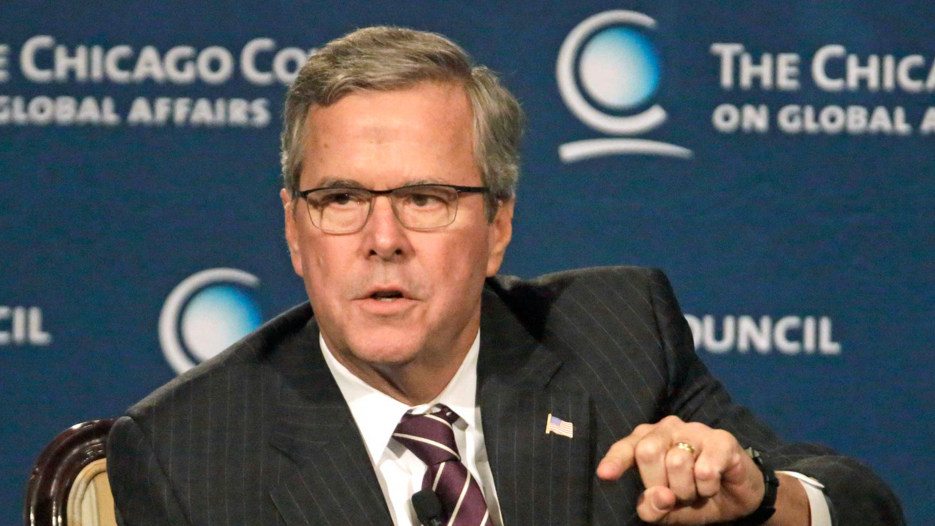 Former Florida Gov. Jeb. Bush at the Chicago Council on Global Affairs, Wednesday, Feb. 18, 2015, in Chicago.