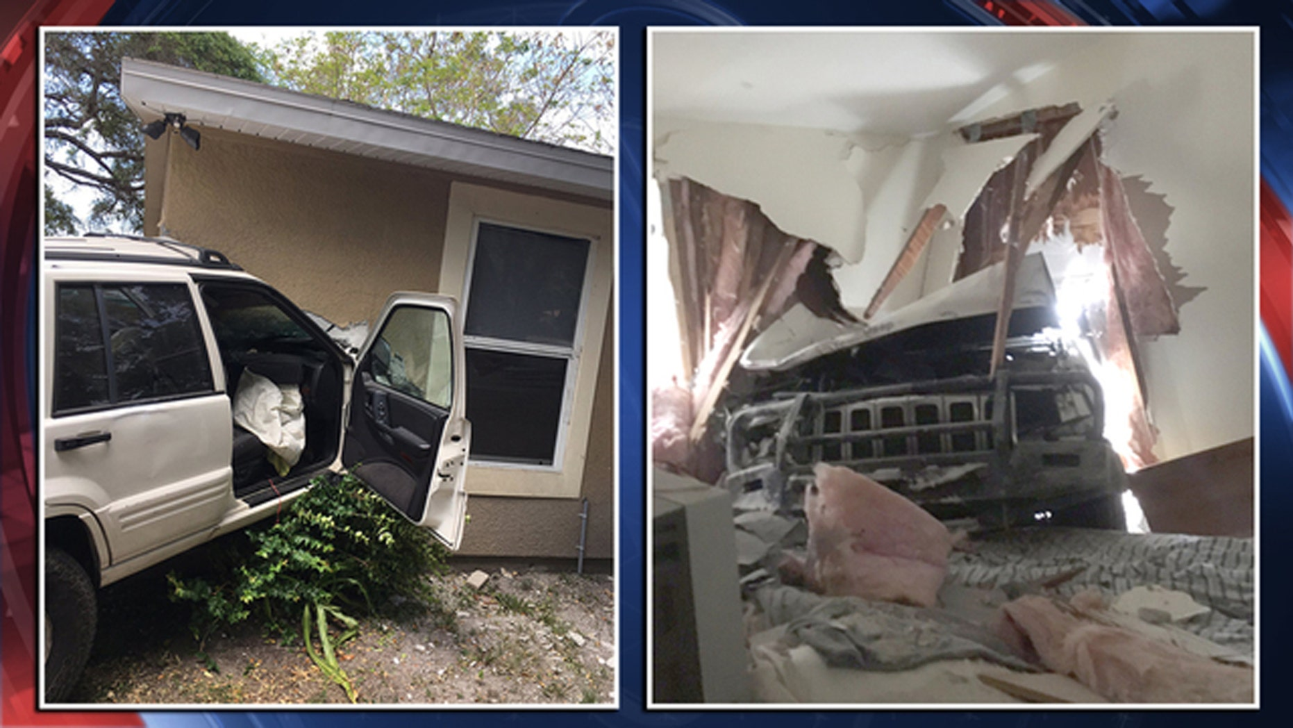 Two people are wanted by police after crashing a stolen vehicle into the side of a home, and then taking off.