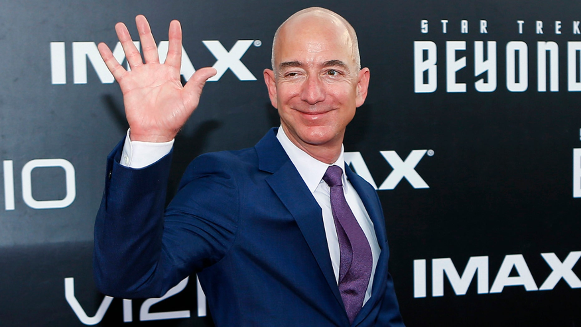 "File photo: CEO of Amazon.com Jeff Bezos arrives for the world premiere of ""Star Trek Beyond"" at Comic Con in San Diego, California U.S., July 20, 2016. (REUTERS/Mike Blake)"