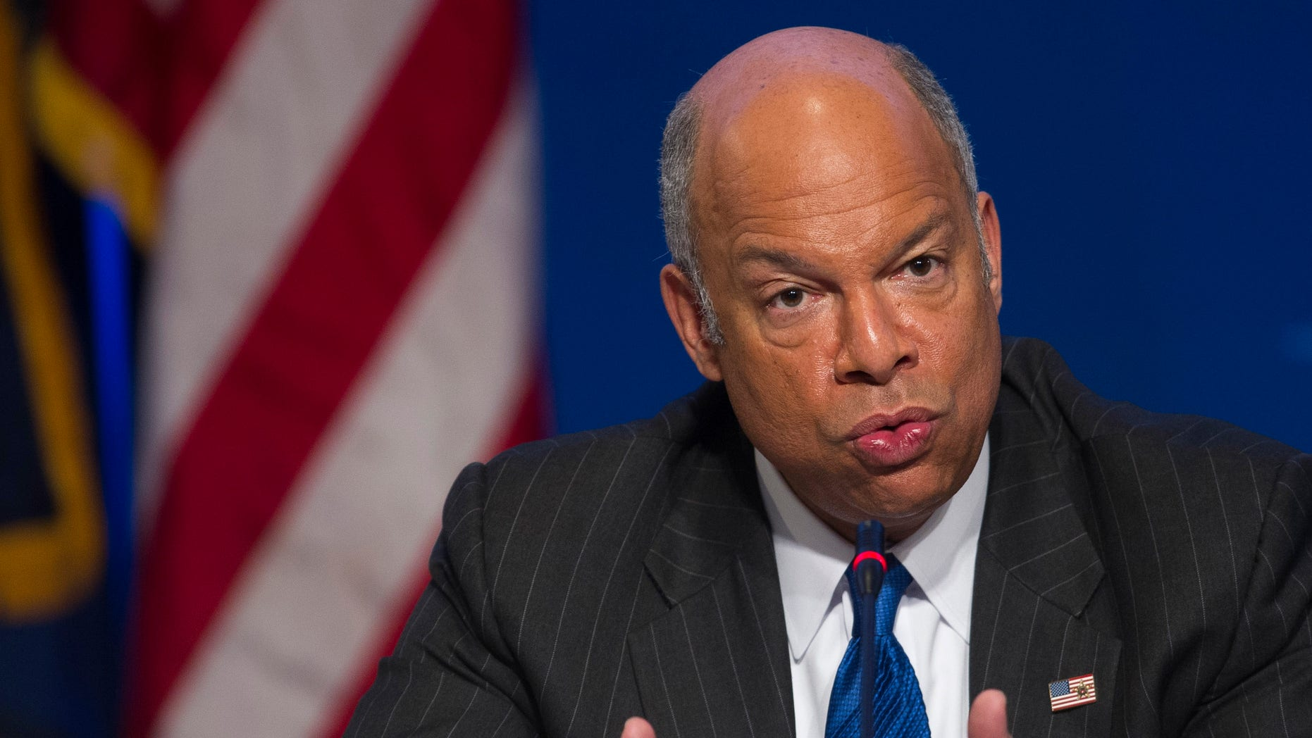 Department of Homeland Security Secretary Jeh Johnson speaks about the agency's budget and cybersecurity at the Homeland Security and Public Safety Committee session during the  National Governors Association Winter Meeting in Washington, Sunday, Feb. 22, 2015. Several Republican governors are urging GOP congressional leaders to stand firm next week in opposing legislation funding the Department of Homeland Security if it doesn't also overturn President Barack Obama's executive action on immigration. (AP Photo/Cliff Owen)