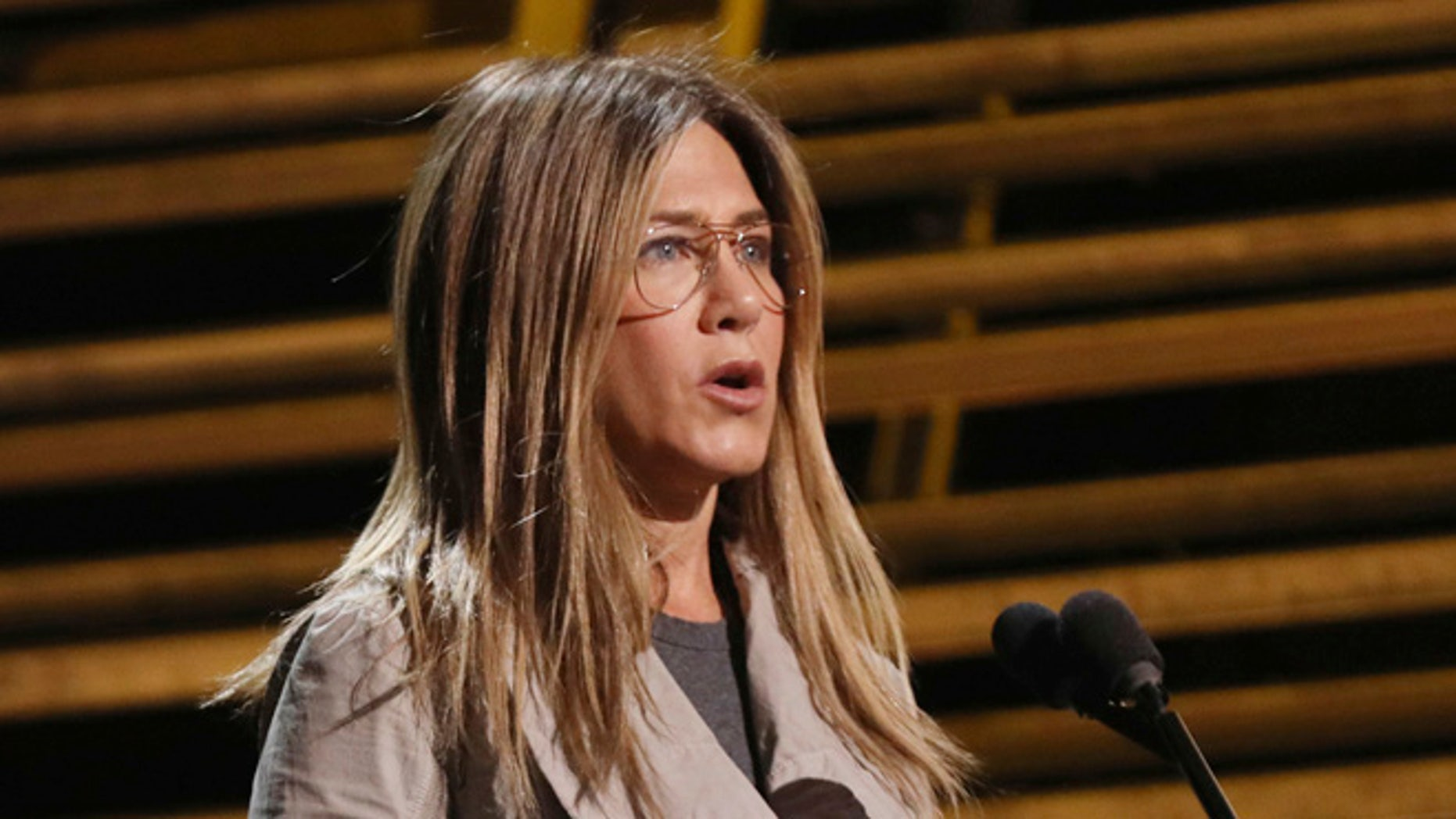 Jennifer Aniston at the Oscar rehearsals.