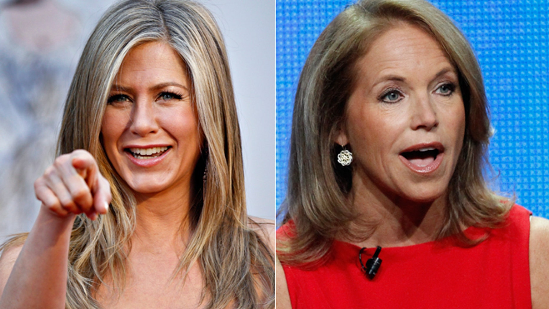 Jennifer Aniston, left, and Katie Couric are shown.